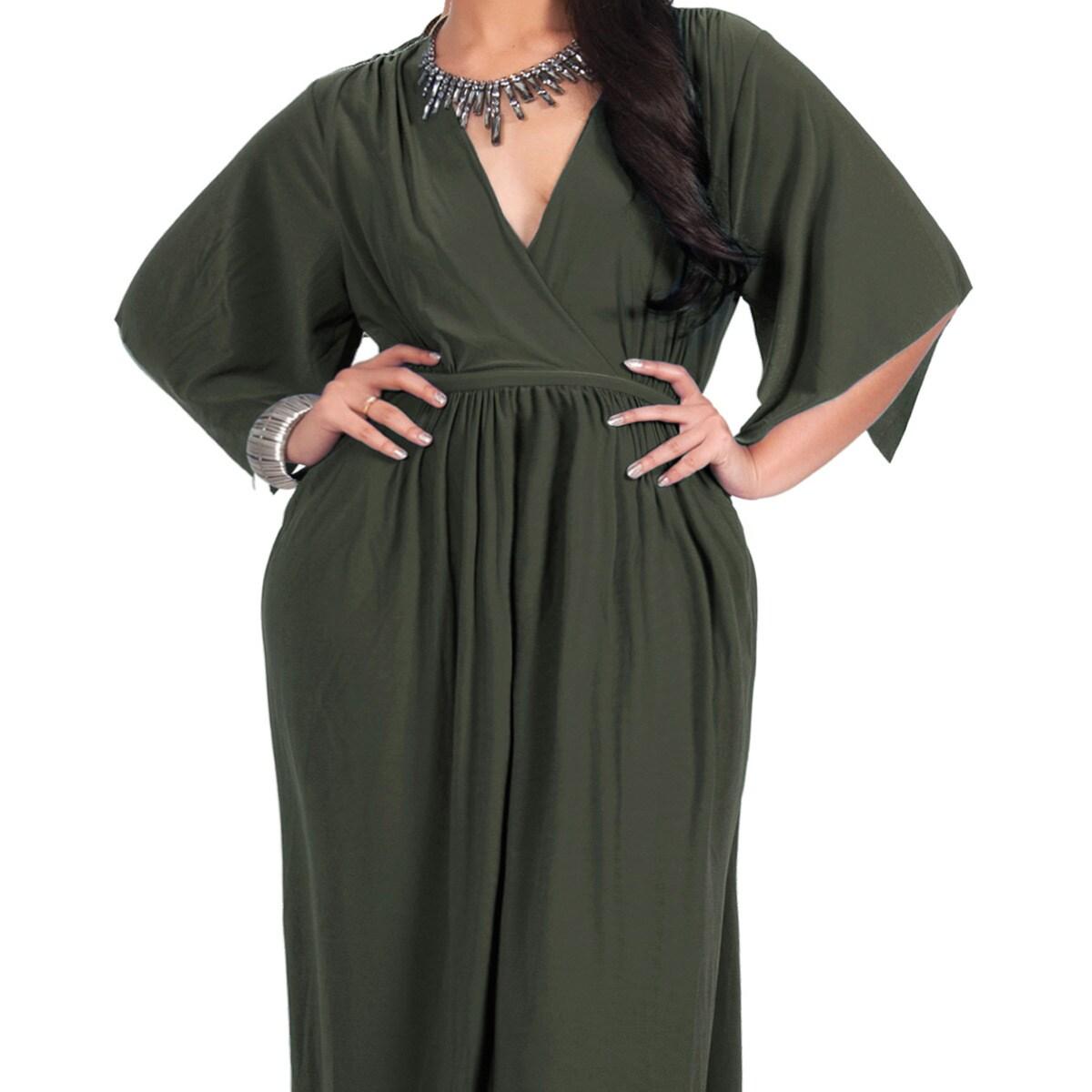 Shop Koh Koh Women\'s Plus Size Empire Waist Maxi Dress - Free ...