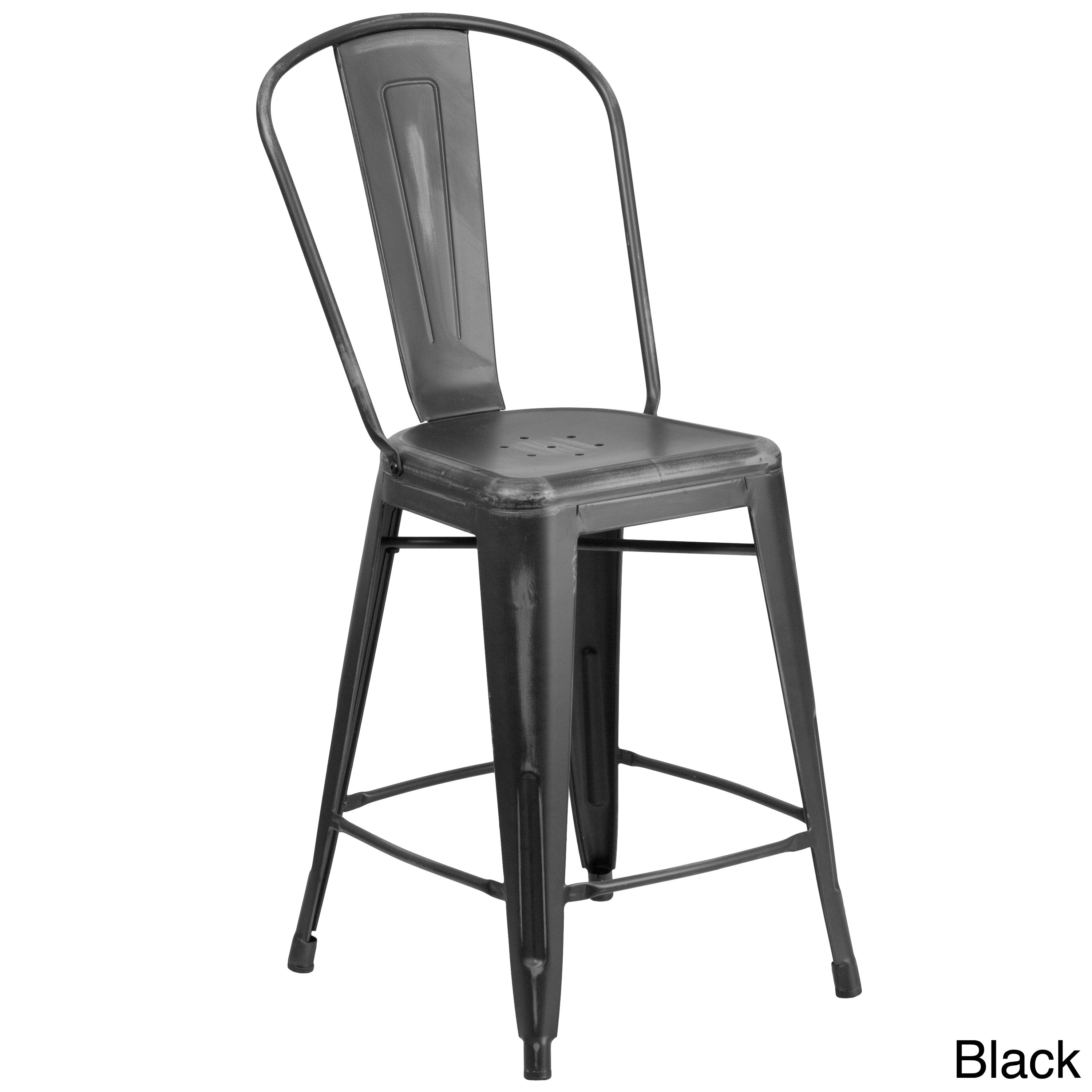 Clay Alder Home Langley Distressed Metal Indoor 24 Inch Counter Height Stool Free Shipping Today 20255025