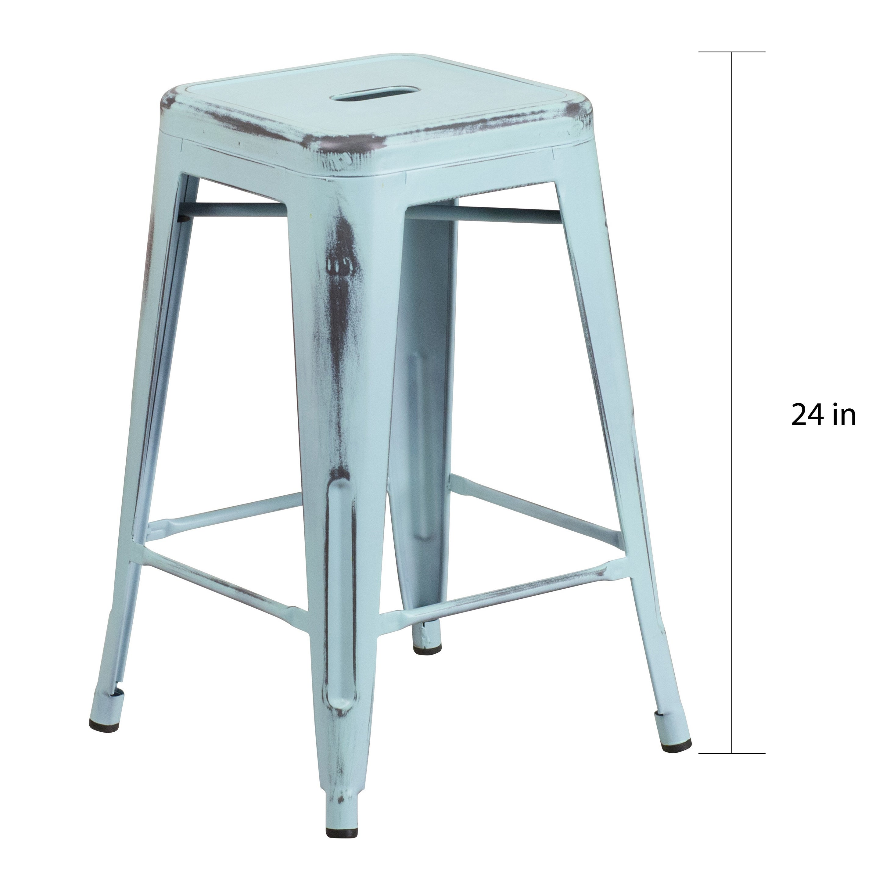24-inch High Backless Distressed Metal Indoor Coun - Free Shipping ...
