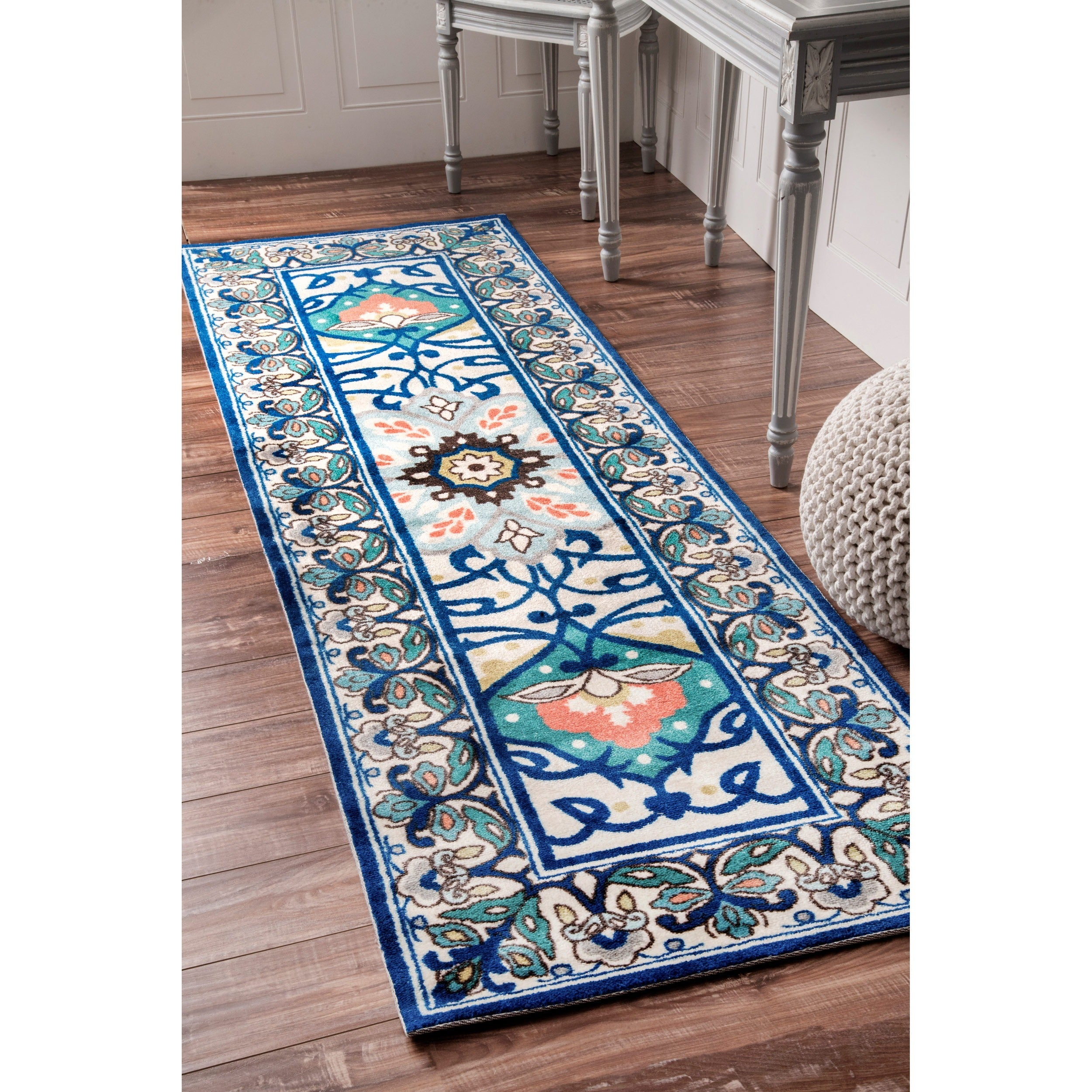 Shop nuLOOM Modern Persian Printed Floral Blue Runner Rug - 2\'6 x 8 ...