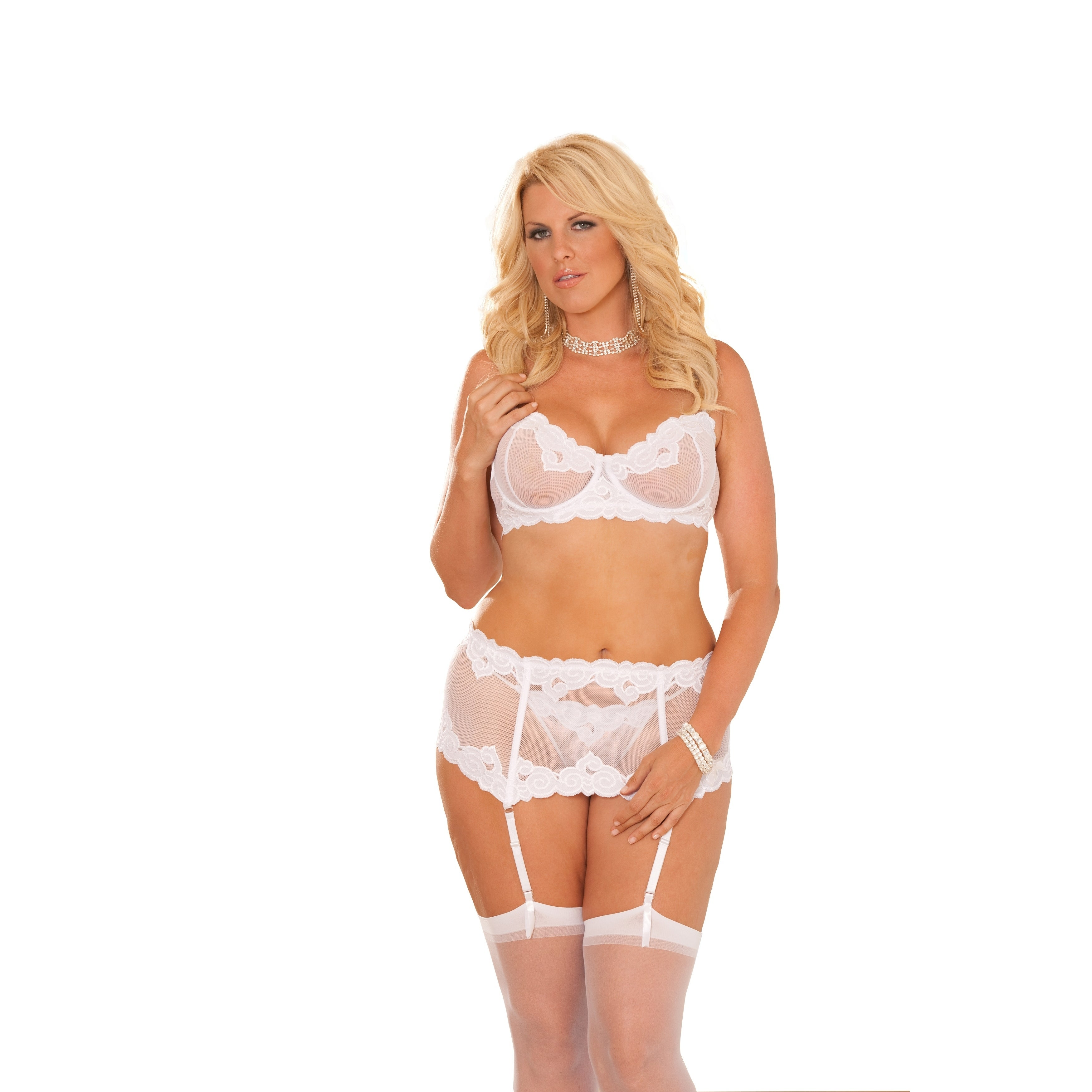 7119ab8bc5 Shop Elegant Moments women s Plus Size embroidered mesh underwire ...