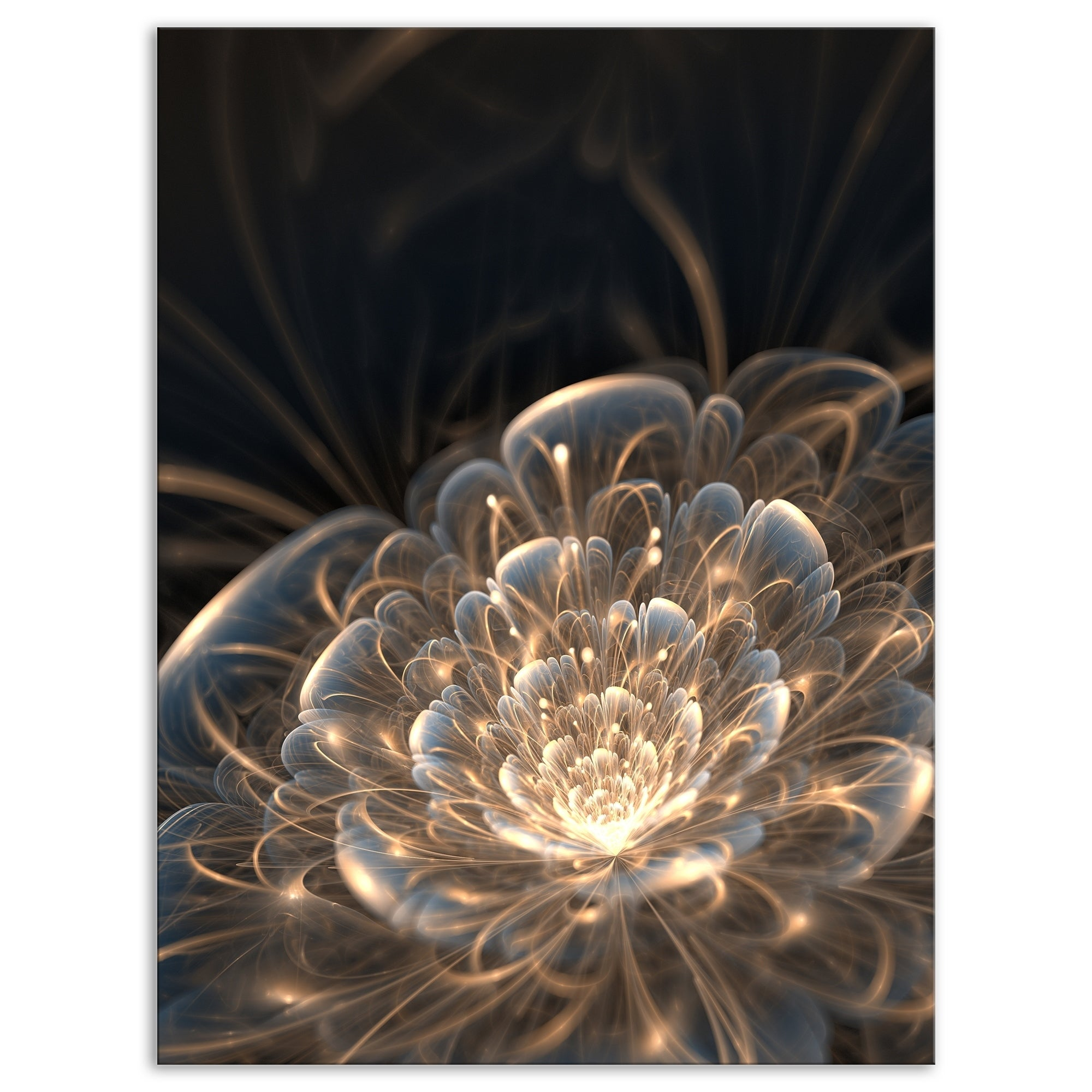 Designart Fractal Flower with Golden Rays Floral Canvas Art