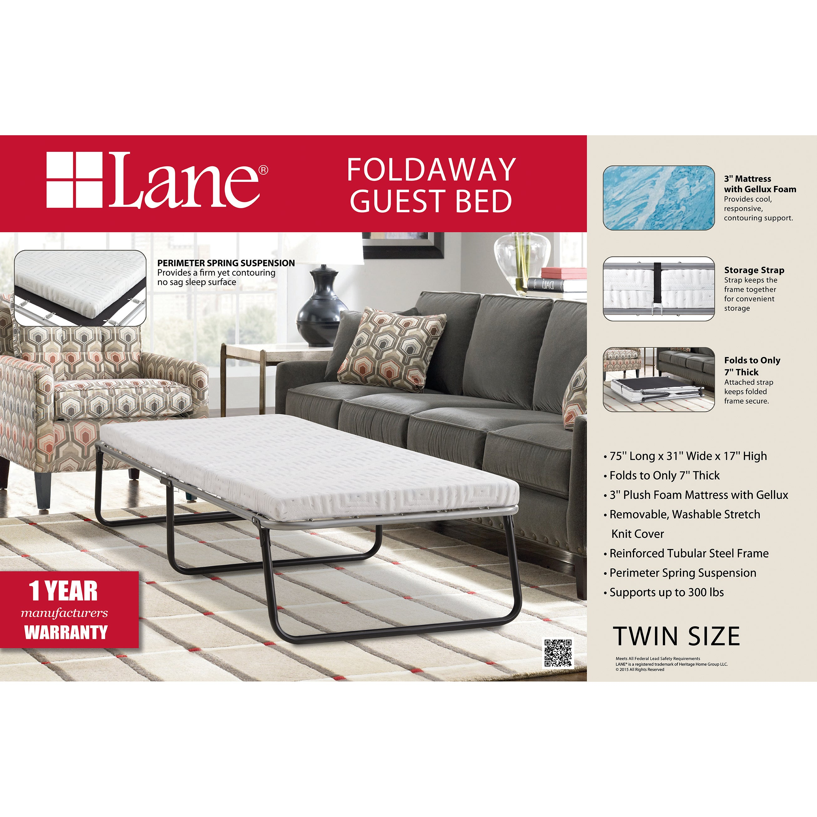 Lane 3 Inch Twin Size Folding Guest Bed