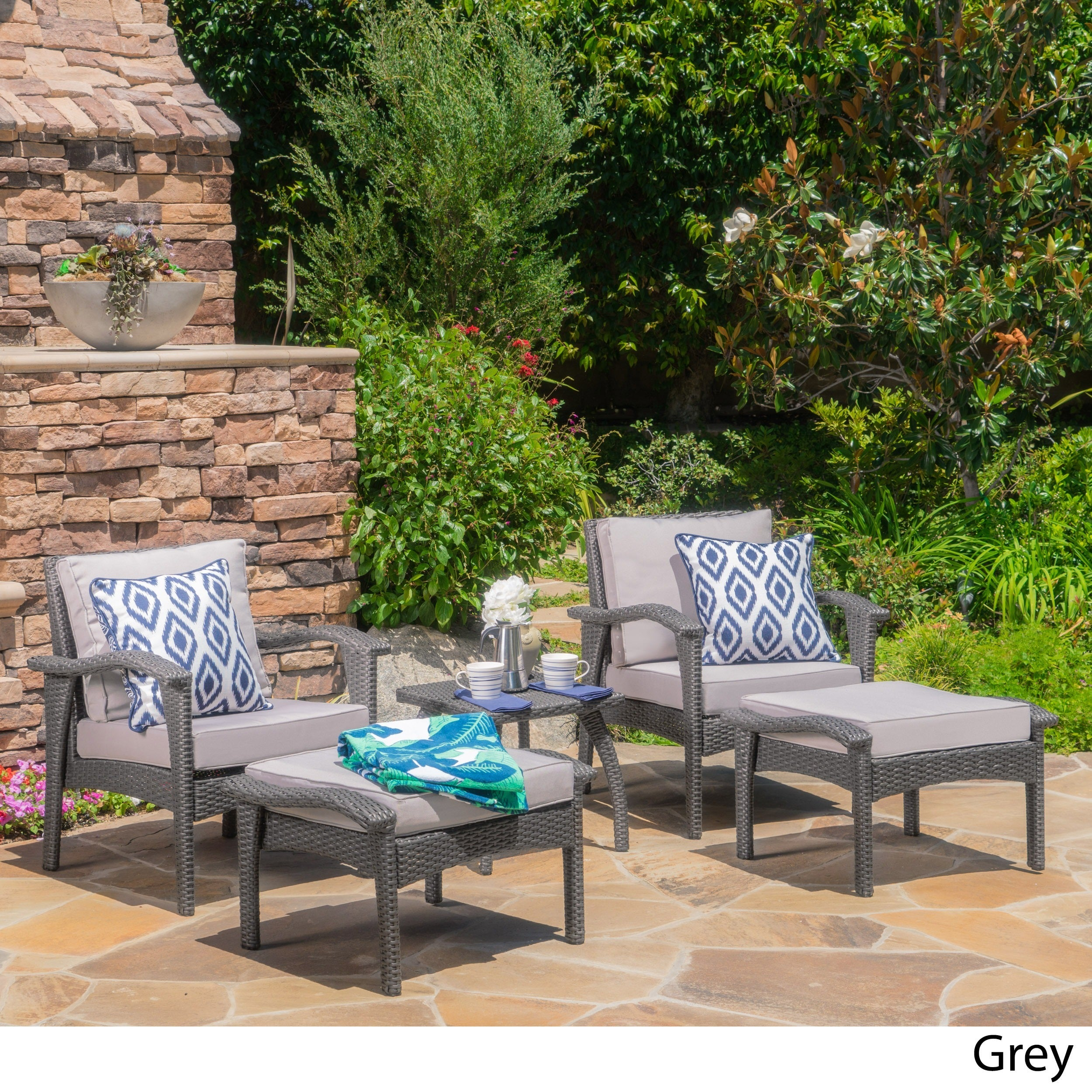 Shop Honolulu Outdoor 5 Piece Wicker Seating Set With Cushions By  Christopher Knight Home   On Sale   Free Shipping Today   Overstock.com    11199720