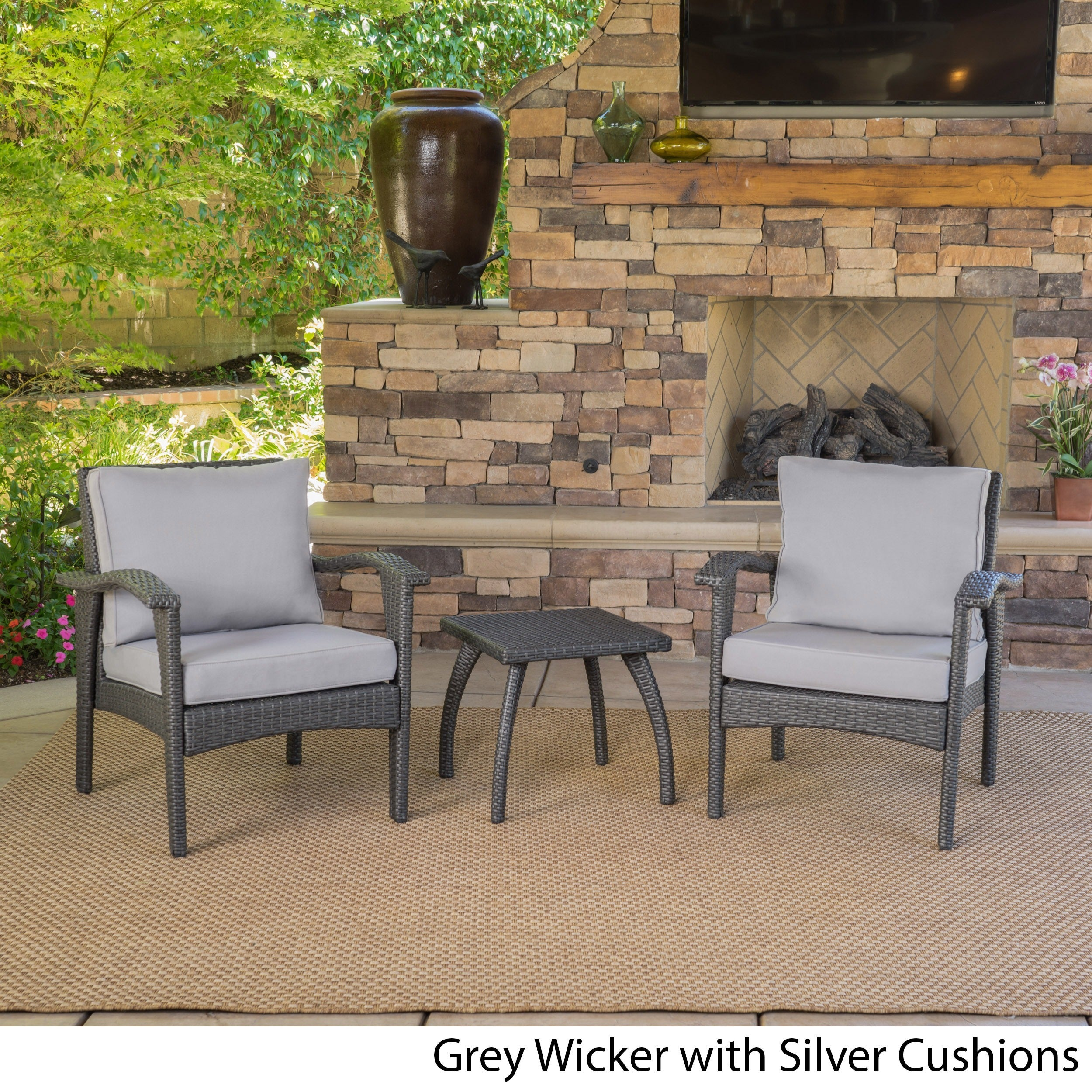 Shop Honolulu Outdoor 3-piece Wicker Chat Set with Cushions by ...