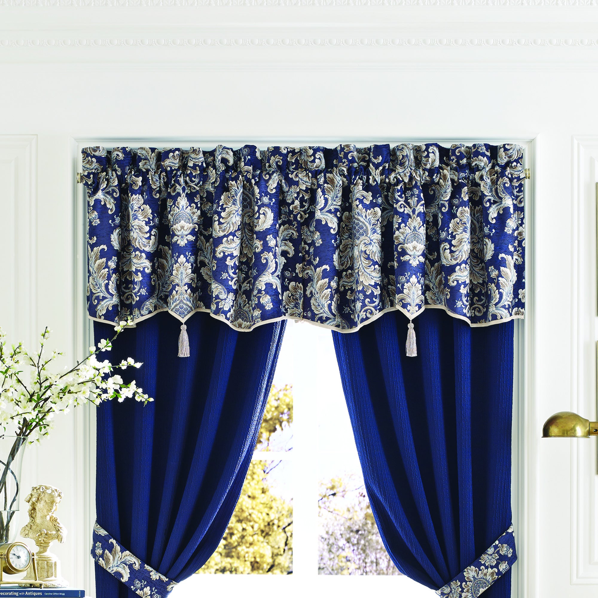from on fabric pin cotton valance valances navy banding striped interlined in hem with and flat white hung toile