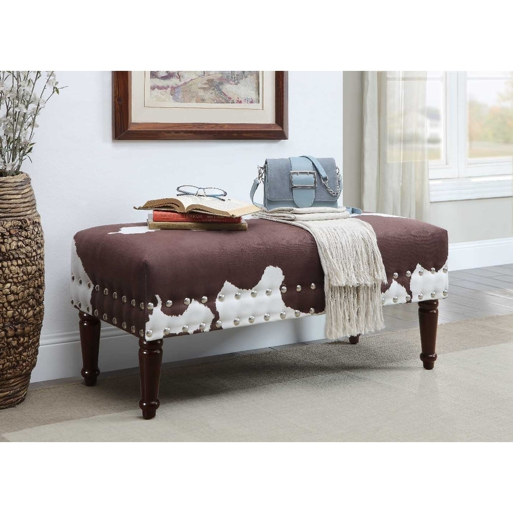 Shop Convenience Concepts Designs4Comfort Faux Cowhide Bench   On Sale    Free Shipping Today   Overstock.com   11206584