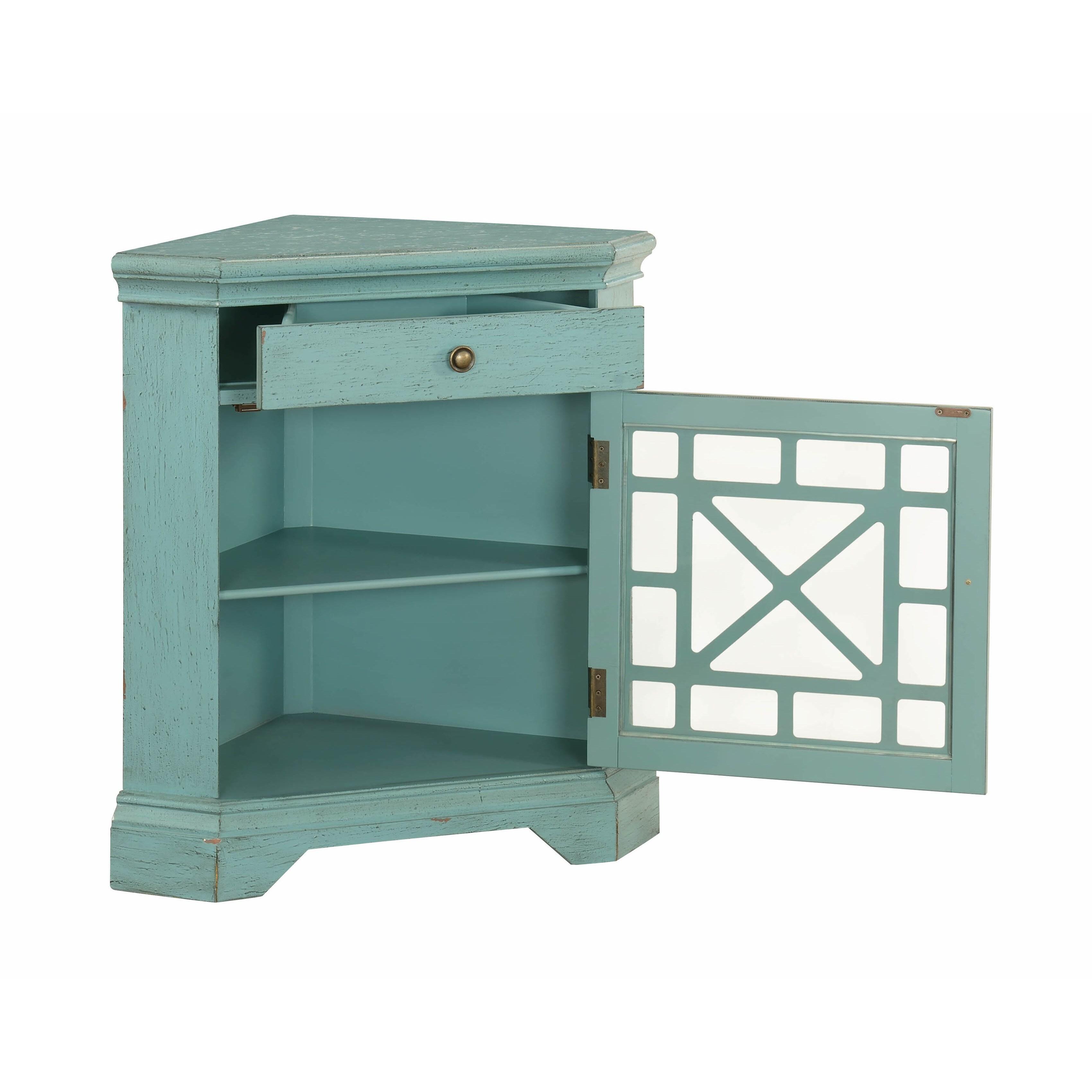 Shop Somette 1-Door Textured Bayberry Blue Corner Cabinet - Free ...