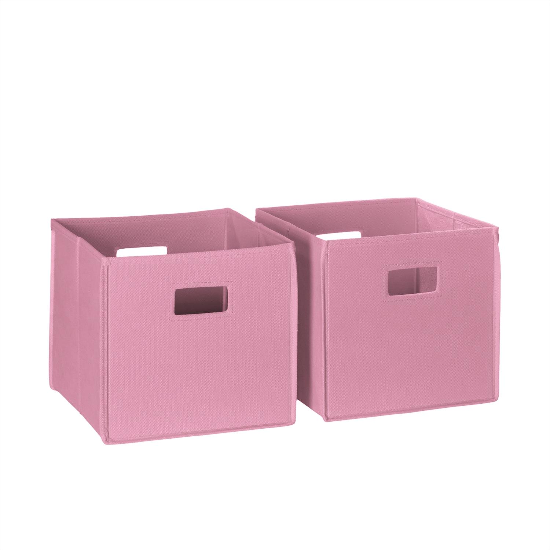 Bon Shop RiverRidge 2 Piece Kids Pink Folding Storage Bin Set With Handles    Free Shipping On Orders Over $45   Overstock.com   11206700