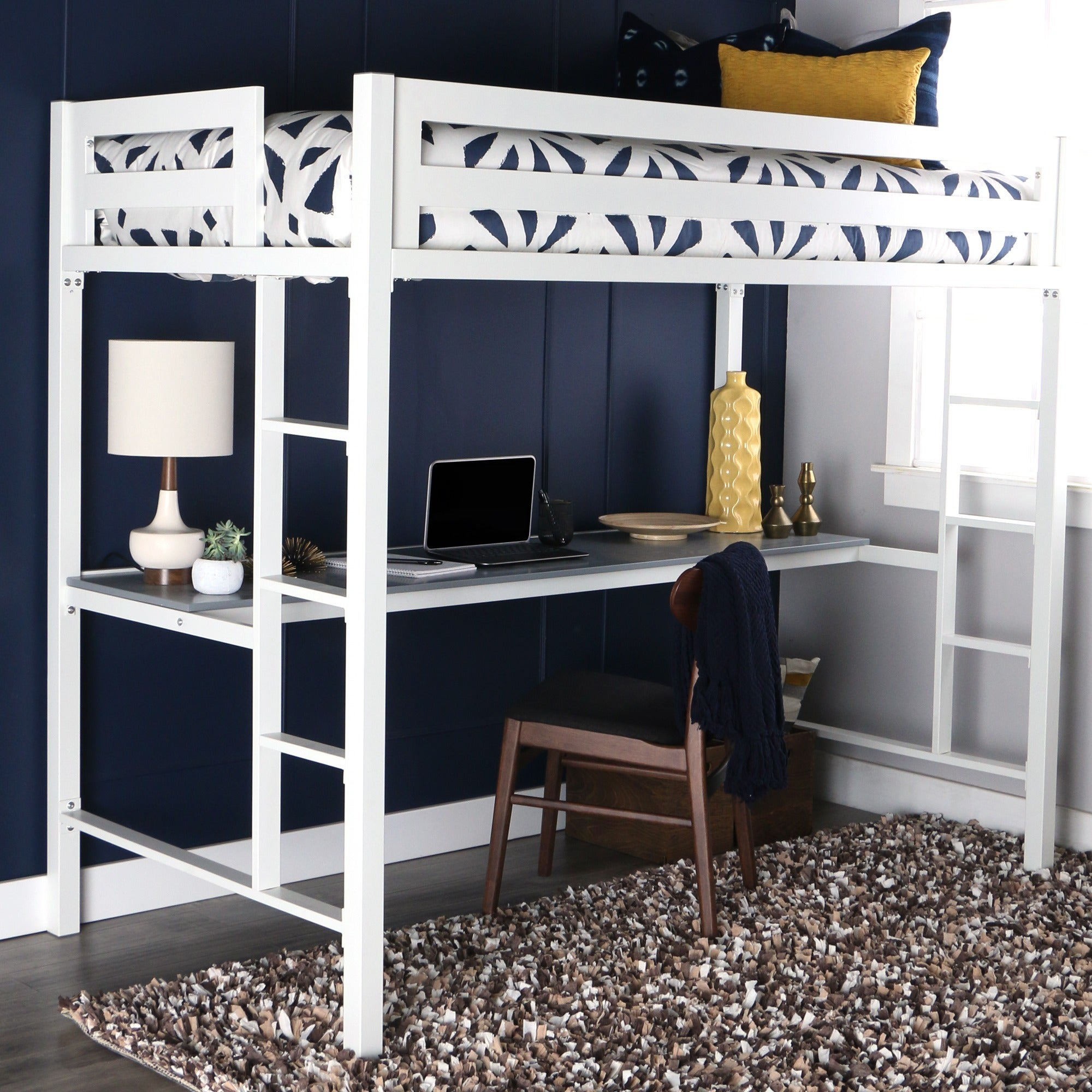 Twin Metal Loft Bed With Desk White Free Shipping Today 18195312
