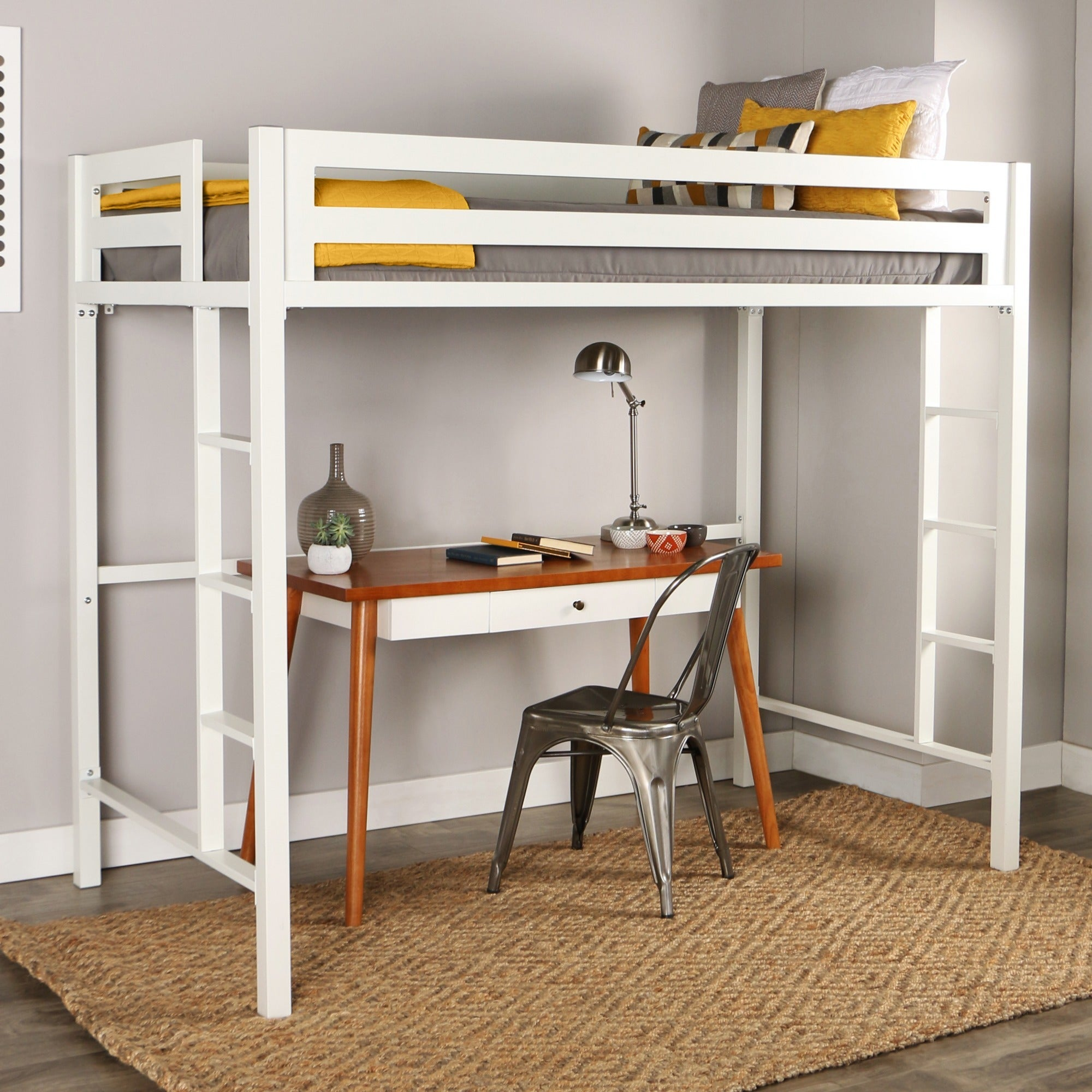Taylor U0026 Olive Browning Twin Metal Loft Bed   White