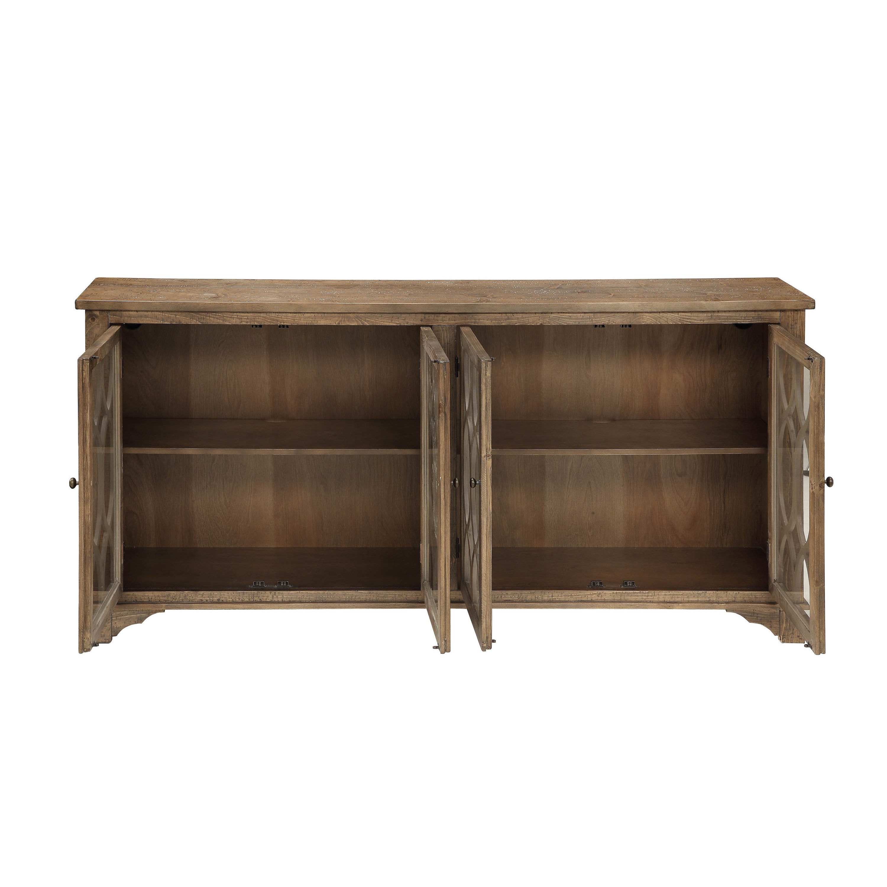 Somette Distressed Brown 4 Door Media Credenza  Free Shipping Today