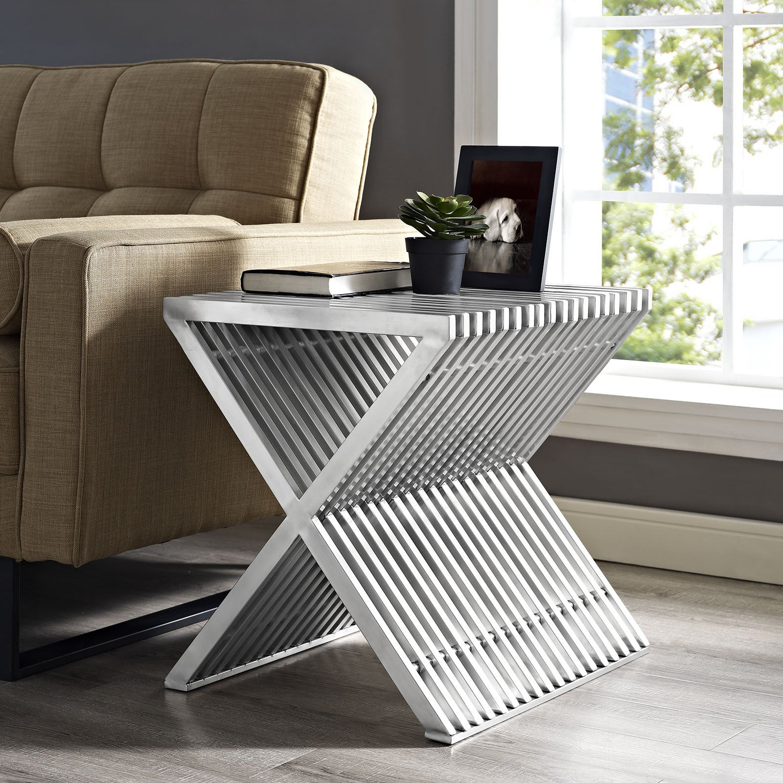Shop Press Stainless Steel Side Table   Free Shipping Today   Overstock.com    11206968