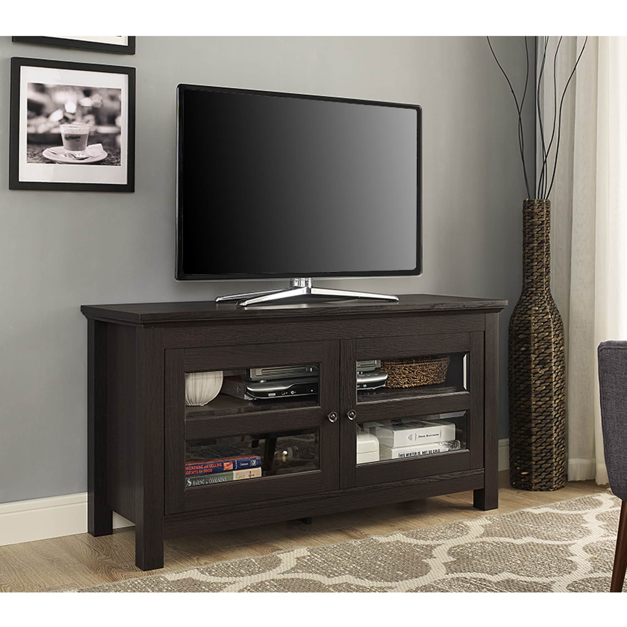 Clay Alder Home Hardy 44 Inch Espresso Wood Tv Stand Console With