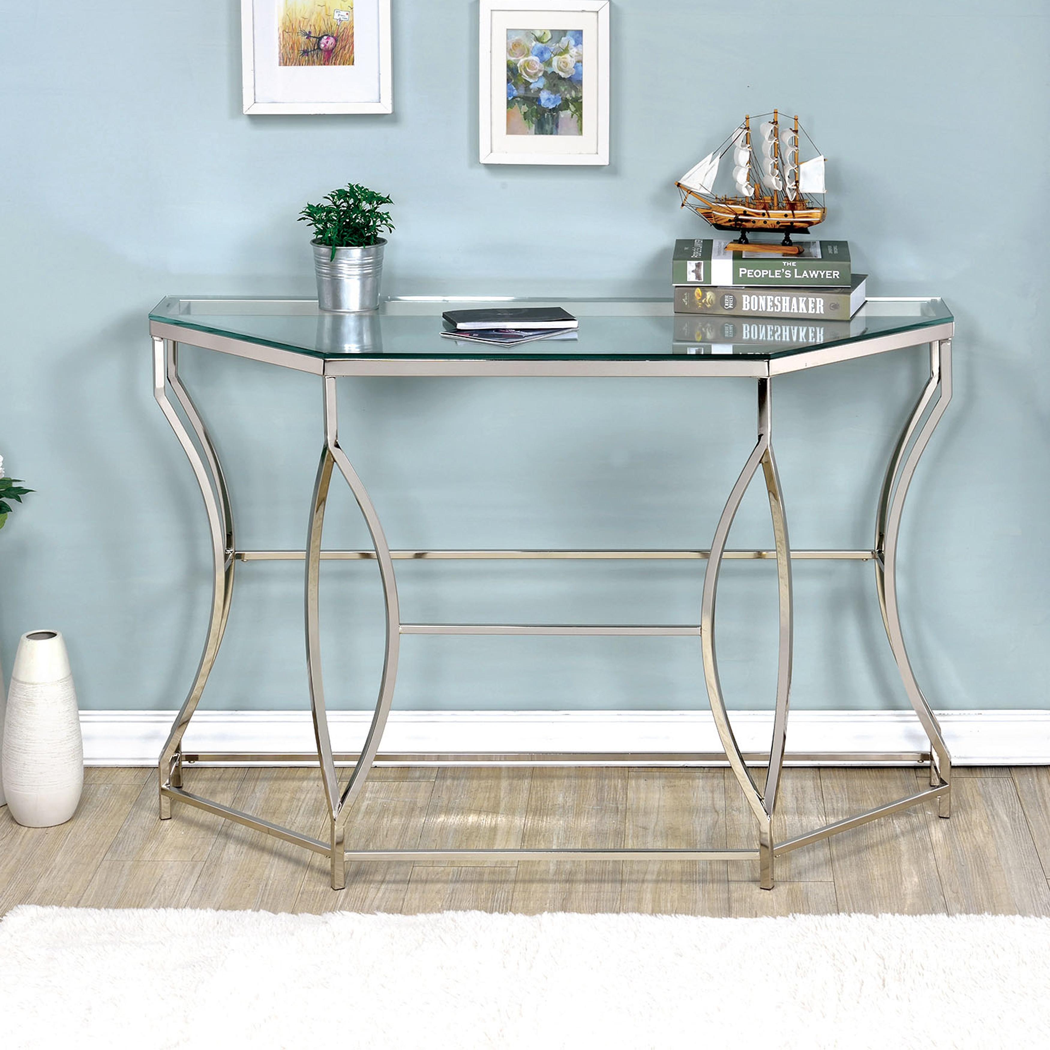 Furniture of America Martello Contemporary Chrome Glass Top Sofa ...