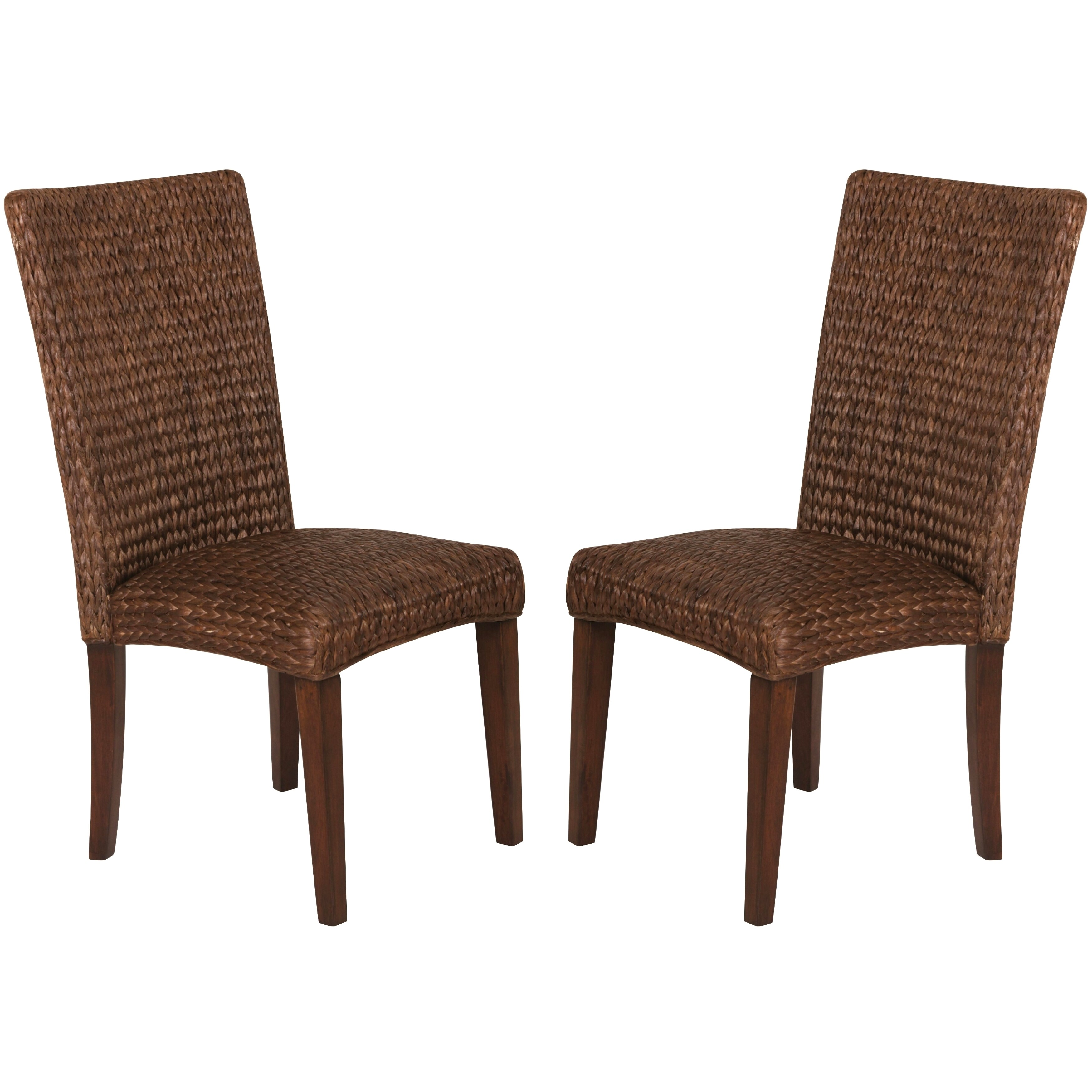 Shop montgomery rattan woven dark brown dining chairs set of 2 free shipping today overstock com 11208435