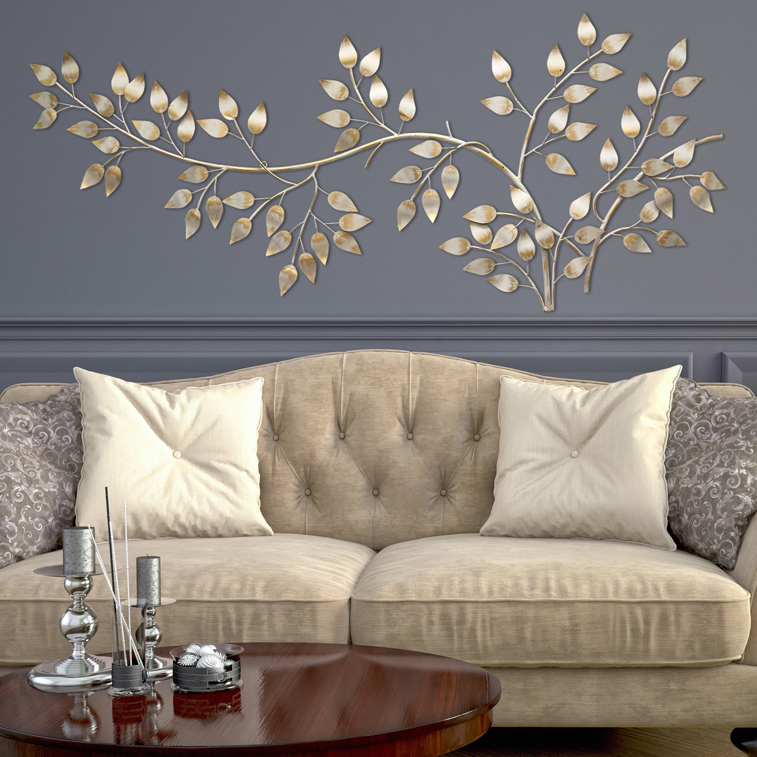 Stratton Home Decor Brushed Gold Flowing Leaves Wall Decor - Free Shipping  Today - Overstock.com - 18198454