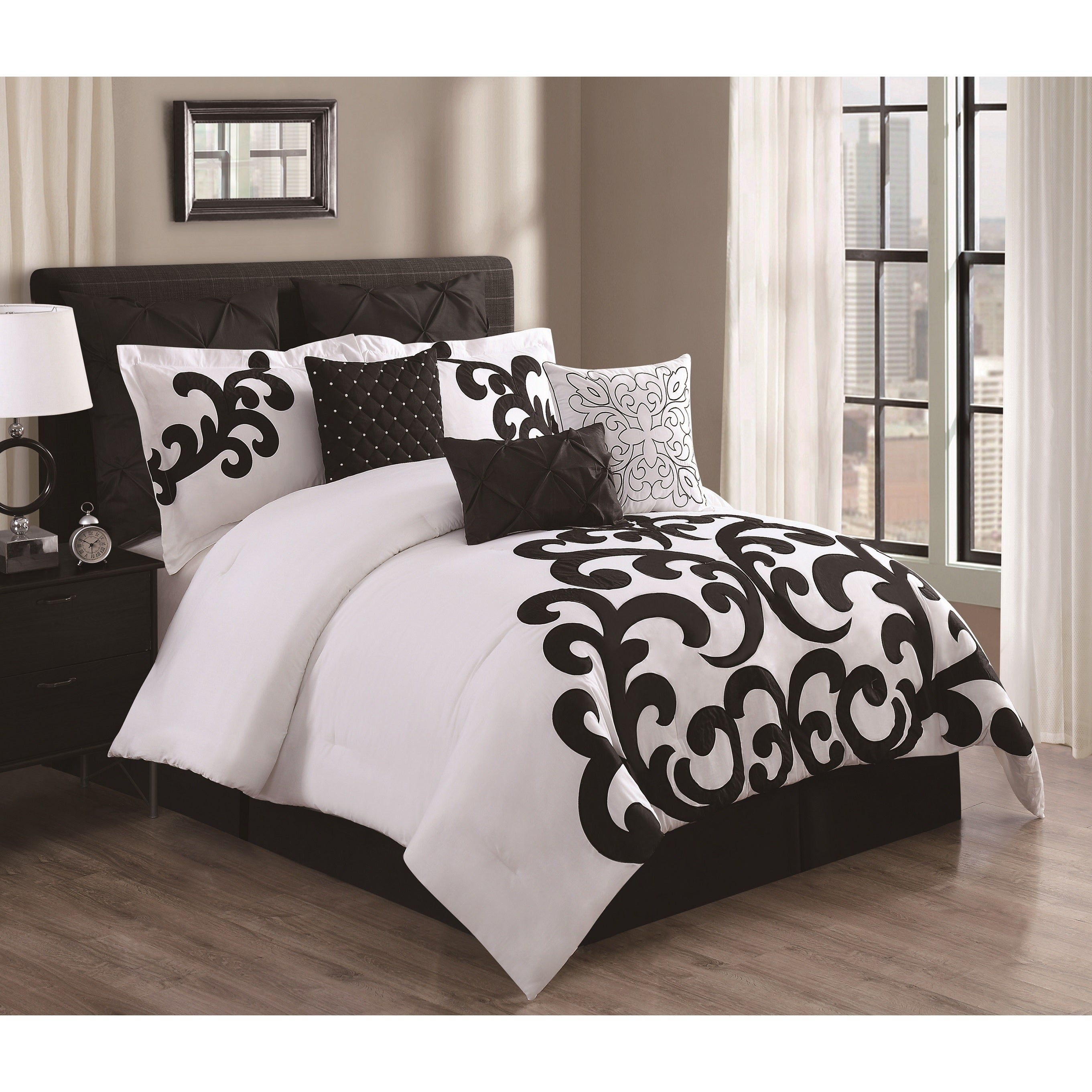 Empress Black and White Cotton 9 piece forter Set Free Shipping
