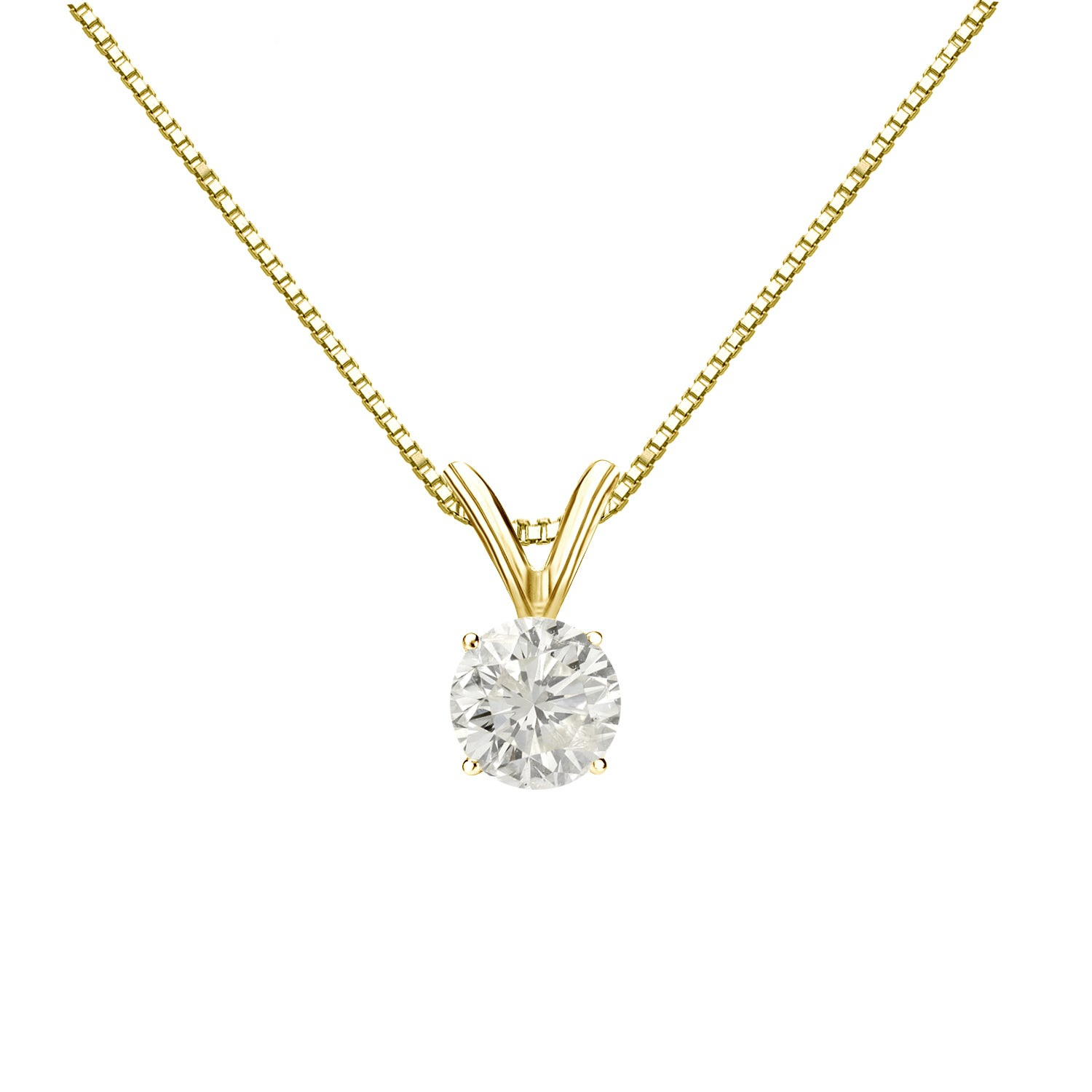 in k set claw en diamond gold classic necklace solitaire
