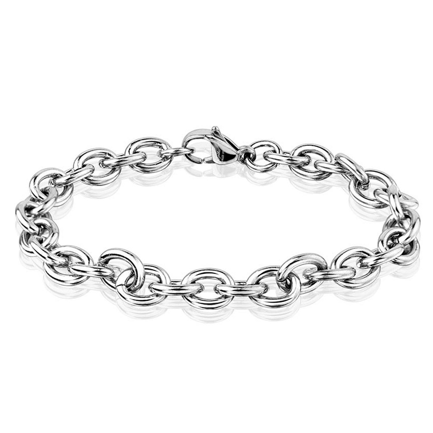 Men S Polished Stainless Steel Chain Bracelet 8mm 8 Inches Free Shipping On Orders Over 45 11320075