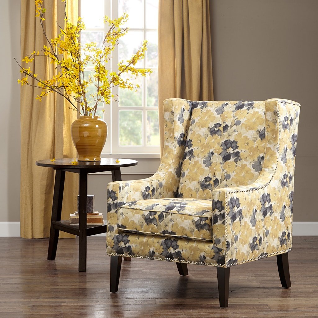Beau Shop Madison Park Weston Yellow Floral Pattern Wingback Chair   Free  Shipping Today   Overstock.com   11320464