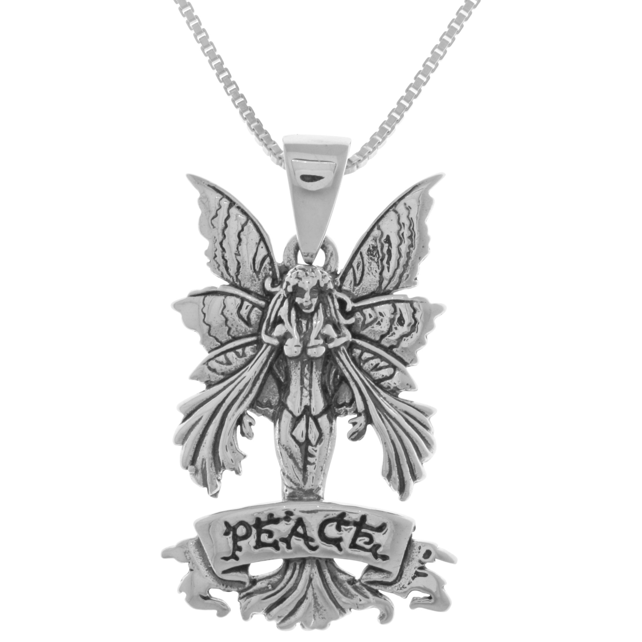 large necklace cosplay play angel women pewter fairy girls winged plated role teens pendant jewellery silver pin with chain
