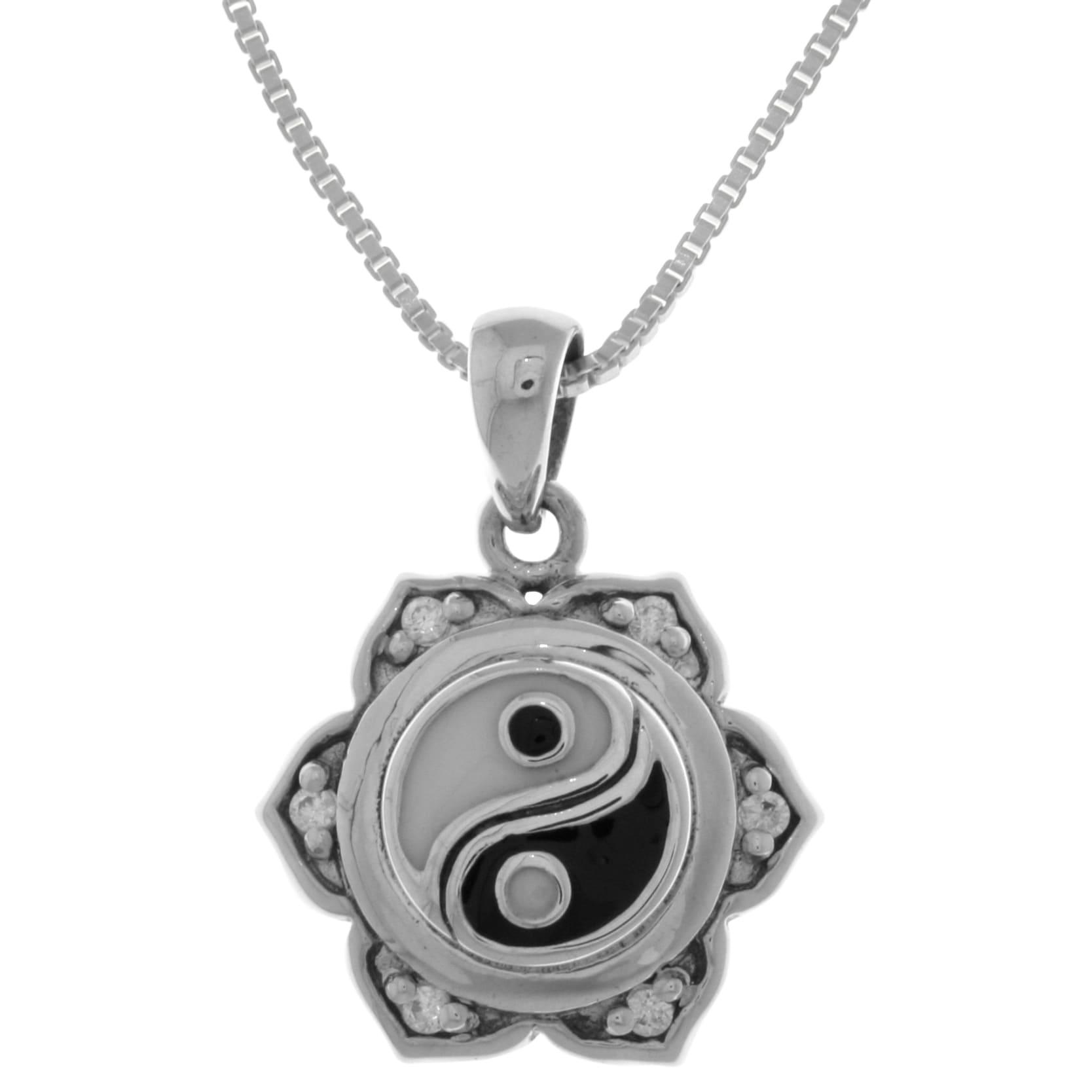 Sterling silver cubic zirconia yin yang lotus flower pendant white sterling silver cubic zirconia yin yang lotus flower pendant white free shipping today overstock 18298064 izmirmasajfo
