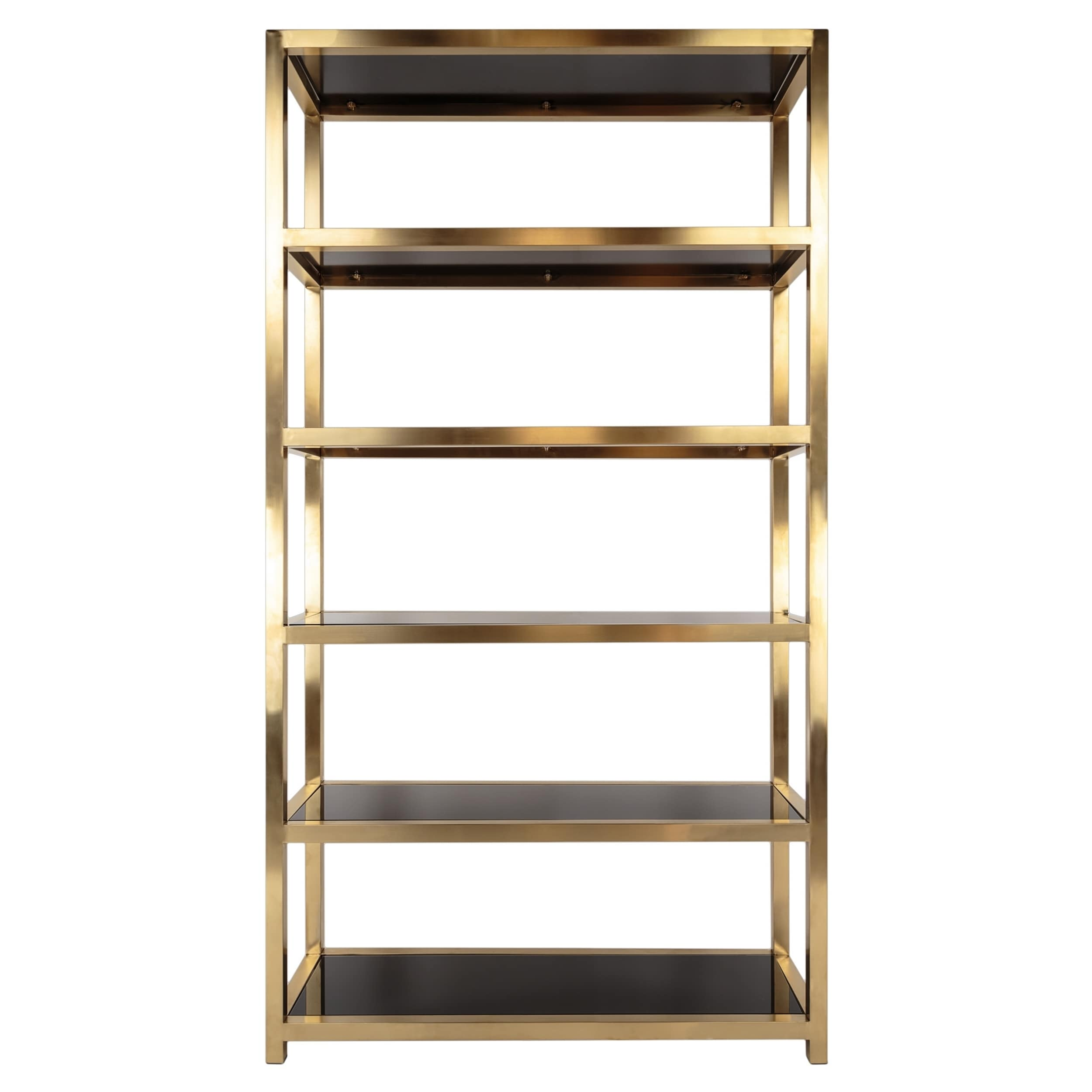 bookshelves gold bookcase product shelvingetagere type pin bookcasemetal bookcases bookcasegold iron color materials metal glass features