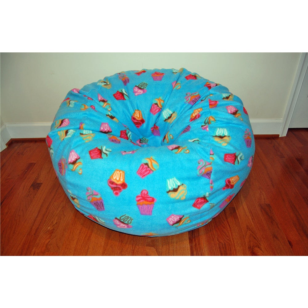 Shop Anti Pill Blue Cupcakes Fleece Washable Bean Bag Chair   On Sale    Free Shipping Today   Overstock.com   11321919