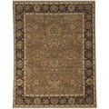 Bethany Brown Traditional Border Hand-knotted Rug (8' x 10')