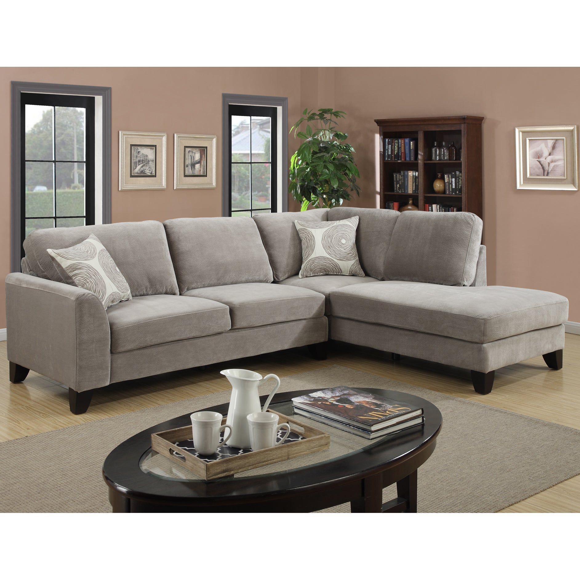 Shop Porter Reese Dove Grey Sectional Sofa With Optional Ottoman