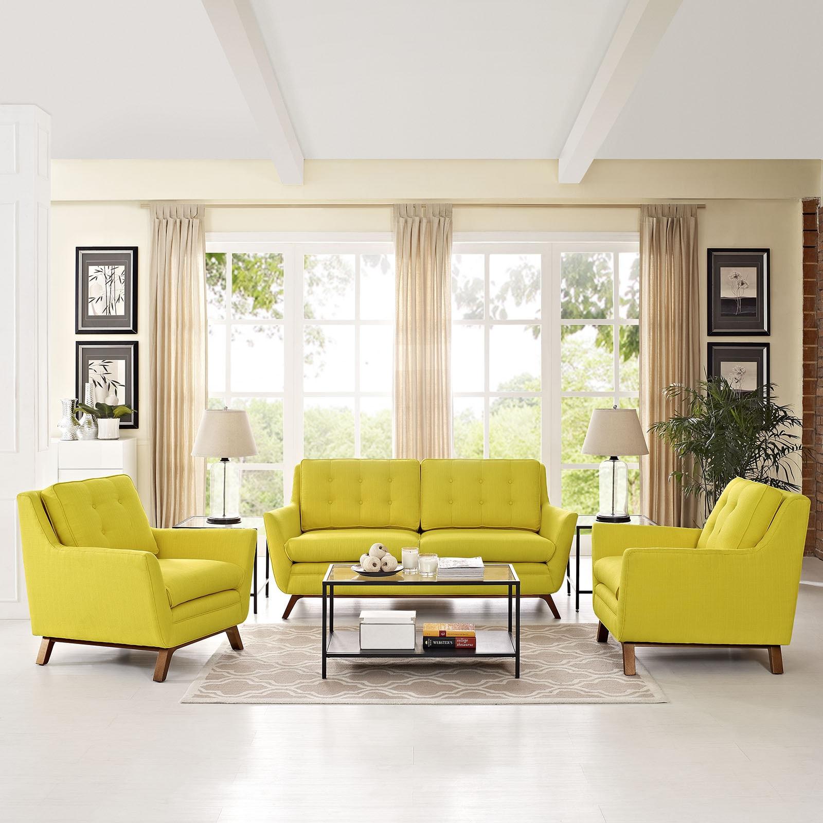 Shop Beguile Fabric 3 Piece Living Room Set