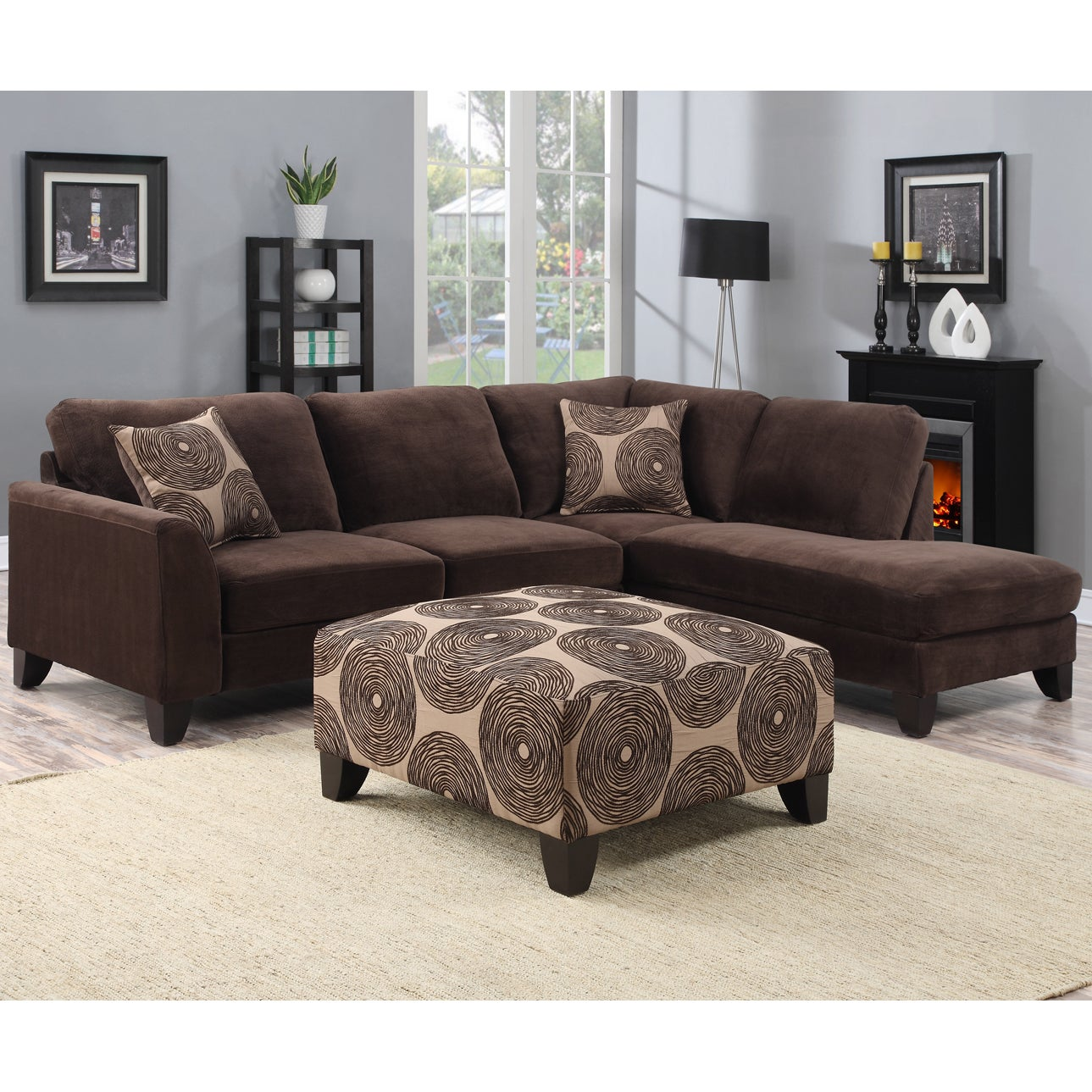 porter malibu chocolate brown sectional sofa with ottoman rh overstock com chocolate brown sectional couch small chocolate brown sectional sofa