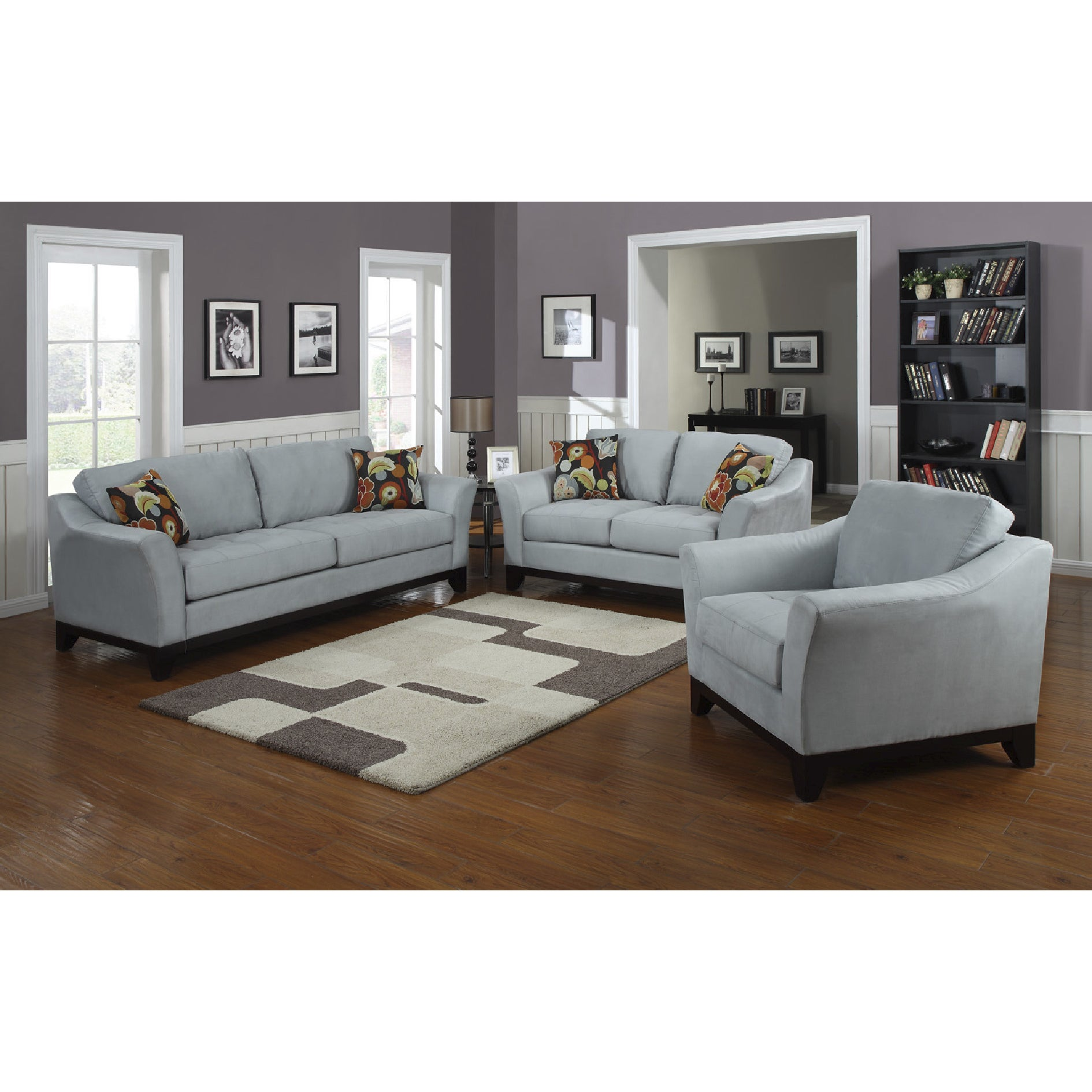 Porter avalon powder blue closeout living room sofa loveseat set with woven floral accent pillows