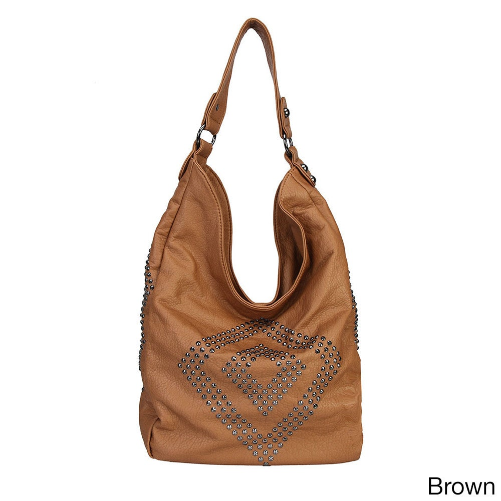 4ec2cdf1c567 Solid Studded Diamond Pattern Hobo Handbag - Free Shipping On Orders Over   45 - Overstock - 11325030