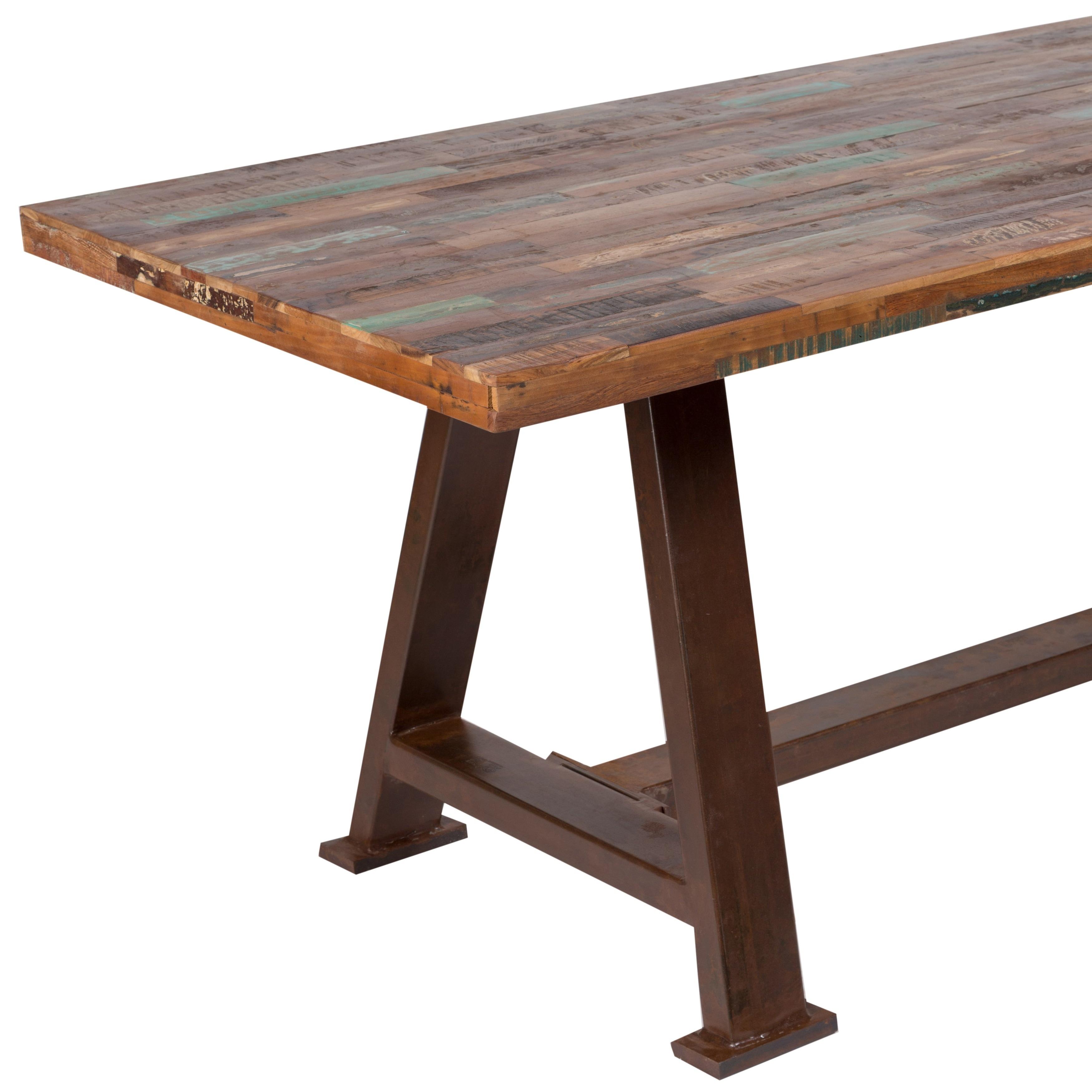 Handmade Wanderloot Brooklyn Reclaimed Salvage Wood Dining Table With Heavy Metal Industrial Base India