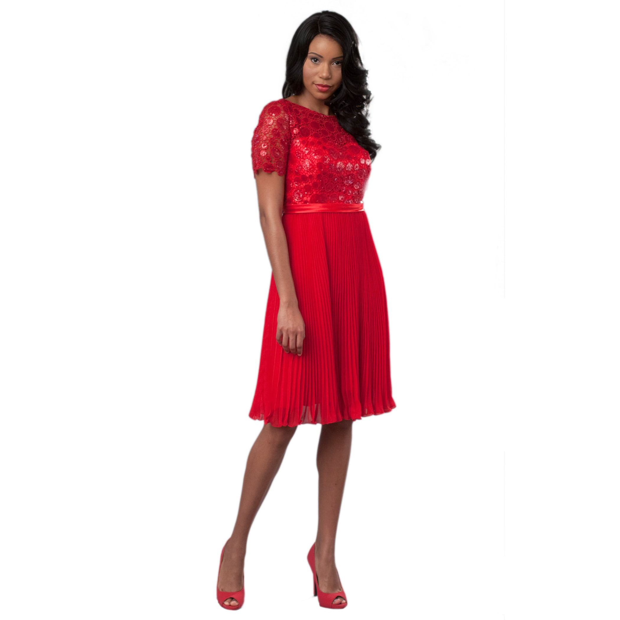7e26151a57 Shop Robin DS Women s Plus Shiny Sequinned top Cocktail Dress with Pleated  Chiffon Skirt - Free Shipping Today - Overstock - 11332764
