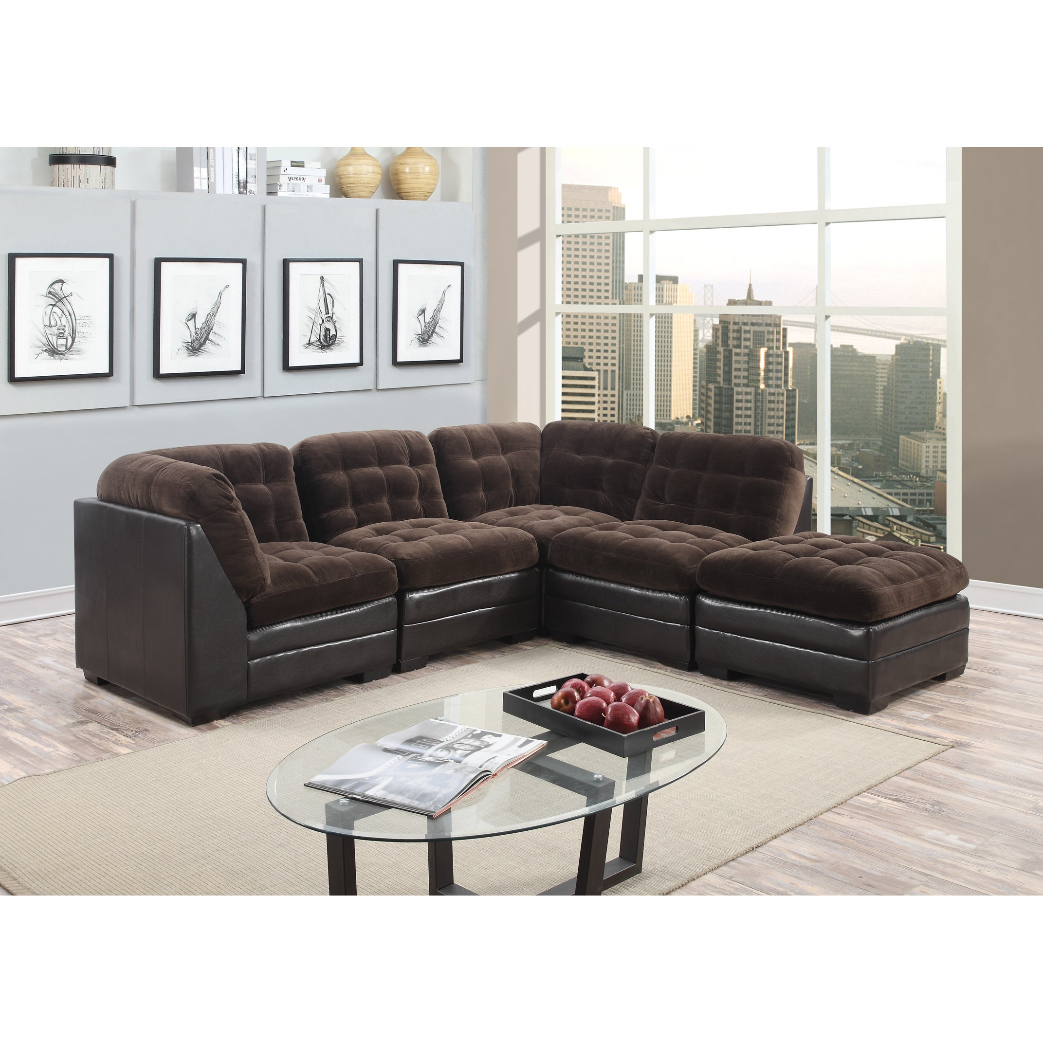 Shop Porter Reid Chocolate Brown Sectional Sofa with Optional ...