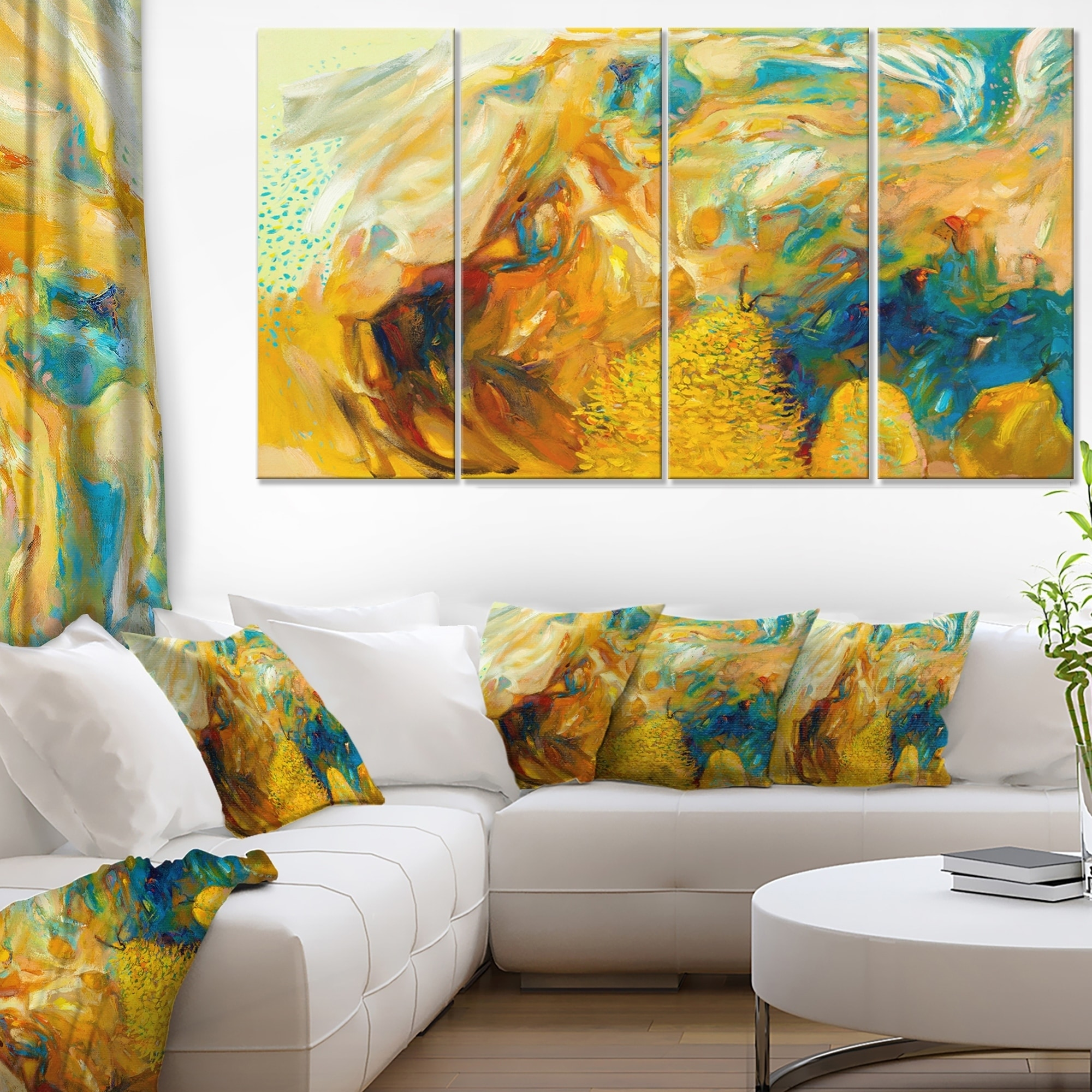Designart - Abstract Yellow Collage -4 Panels Abstract Large Canvas ...