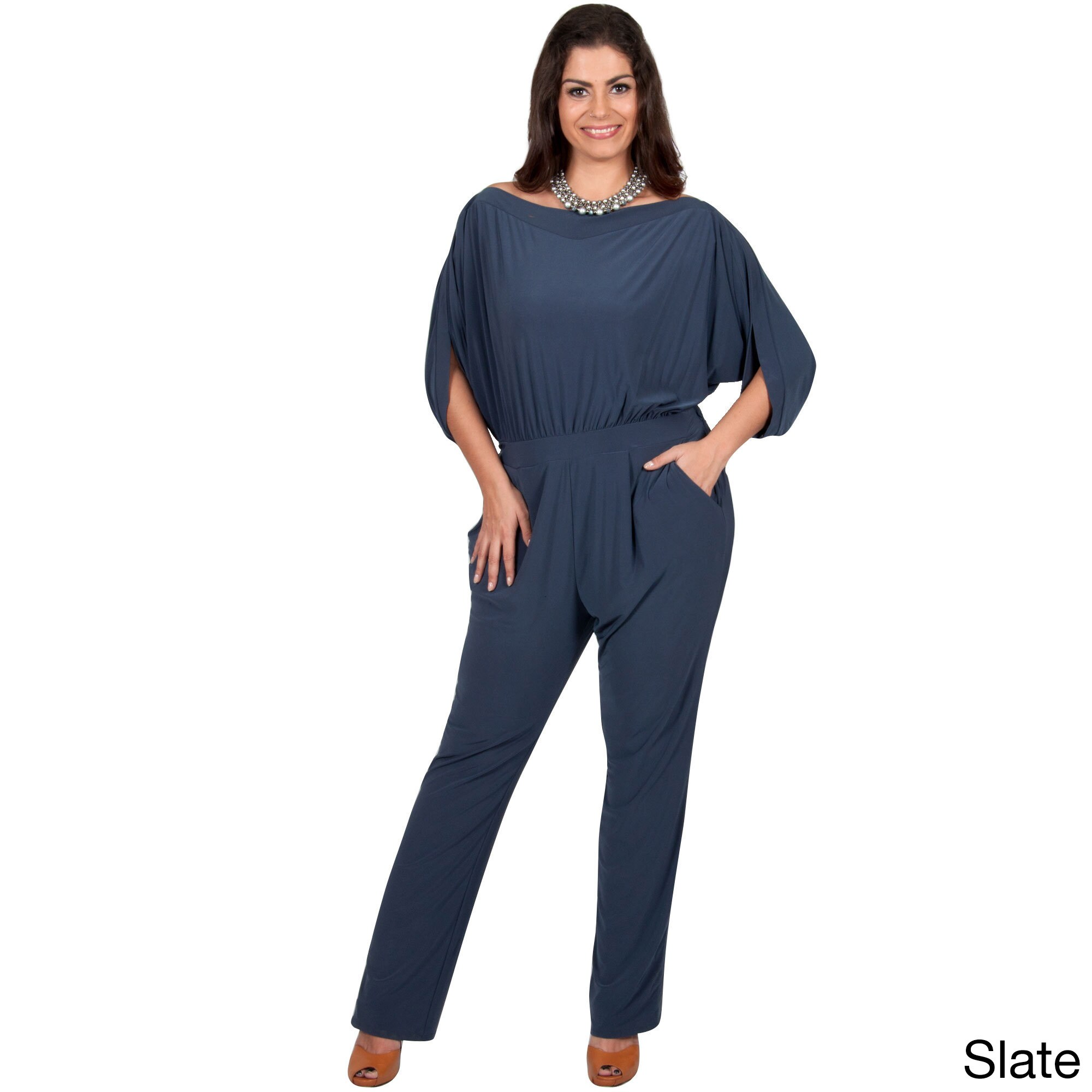 882e5ba8e40c Shop KOH KOH Women s Plus Size Batwing Sleeves Round Neck Cocktail Jumpsuit  - Free Shipping Today - Overstock - 11333885