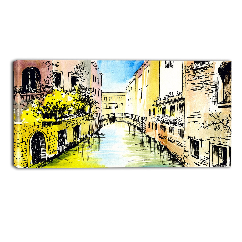 Shop Designart - Canal in Venice - Cityscape Canvas Artwork - YELLOW ...