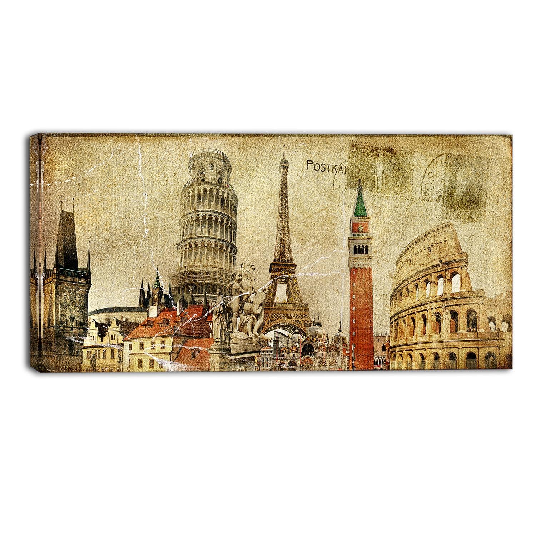 Shop Designart - Vintage Postal Card - Contemporary Canvas Art Print ...