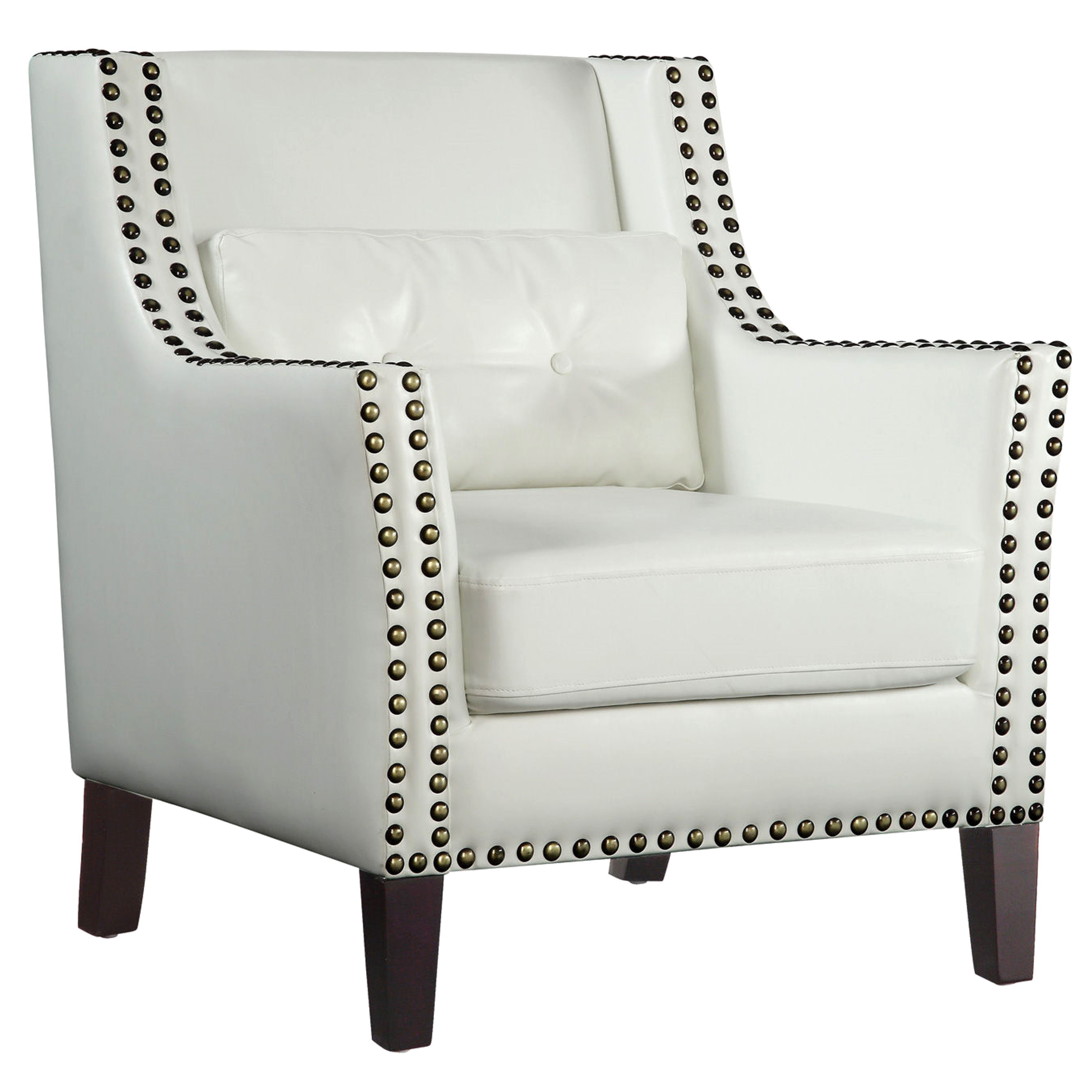 Harvard Madrid Design Decorative Cream/ White Wing Accent Chair With Nail  Head Trim   Free Shipping Today   Overstock   18316649