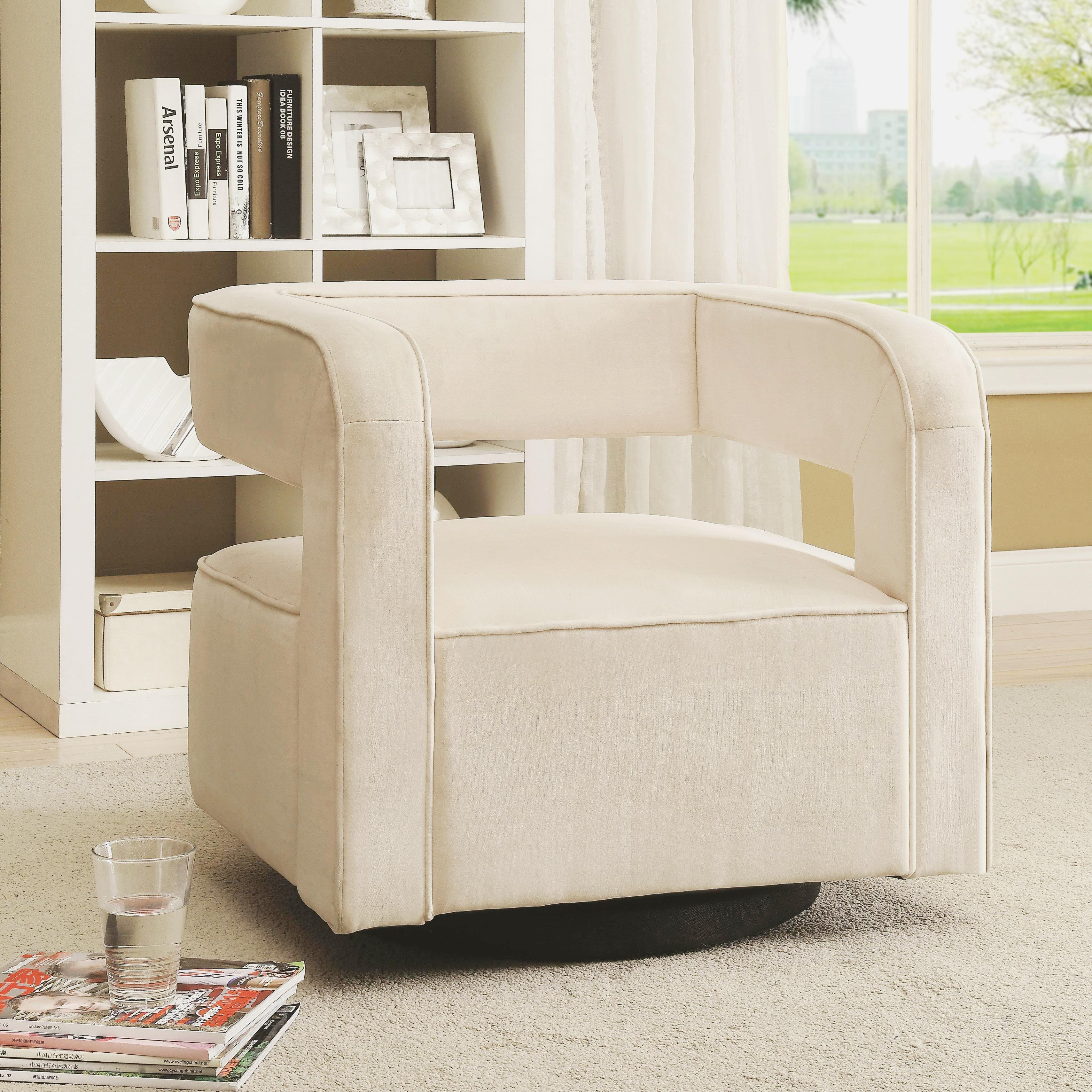 Shop Galactica Art Deco Floating Design Upholstered Swivel Accent ...