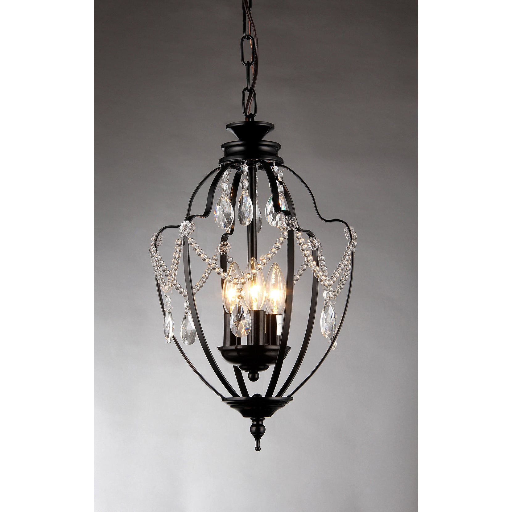Kennedy 3 light black finish 11 inch crystal chandelier free kennedy 3 light black finish 11 inch crystal chandelier free shipping today overstock 18318683 aloadofball Images