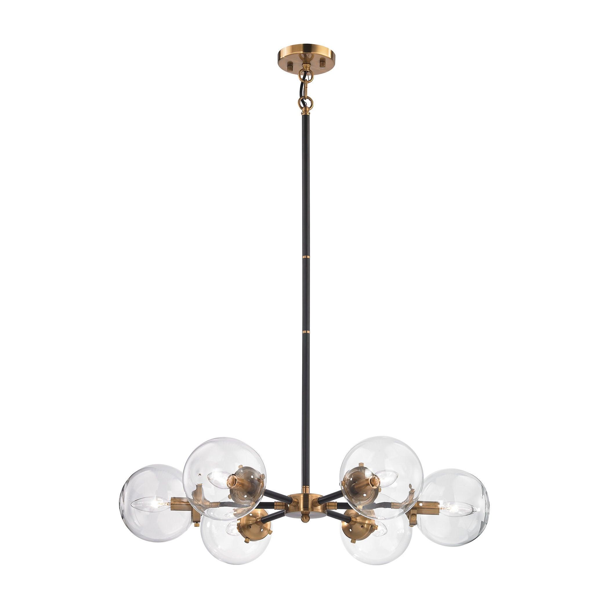 Elk boudreaux 6 light led chandelier in matte black and antique elk boudreaux 6 light led chandelier in matte black and antique gold free shipping today overstock 18318835 arubaitofo Images