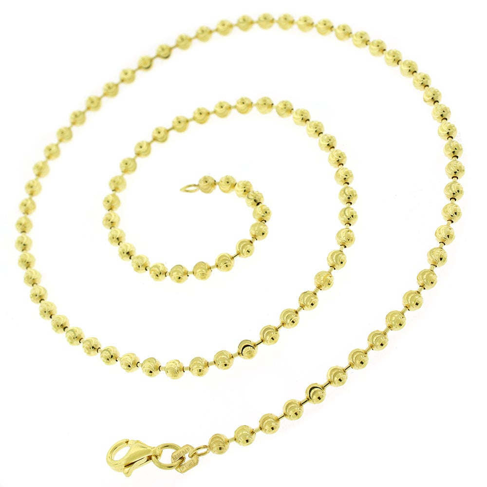 5228e3a2b5d85b Authentic 14k Yellow Gold 3mm Solid Moon-Cut Ball Bead Necklace Chain 16
