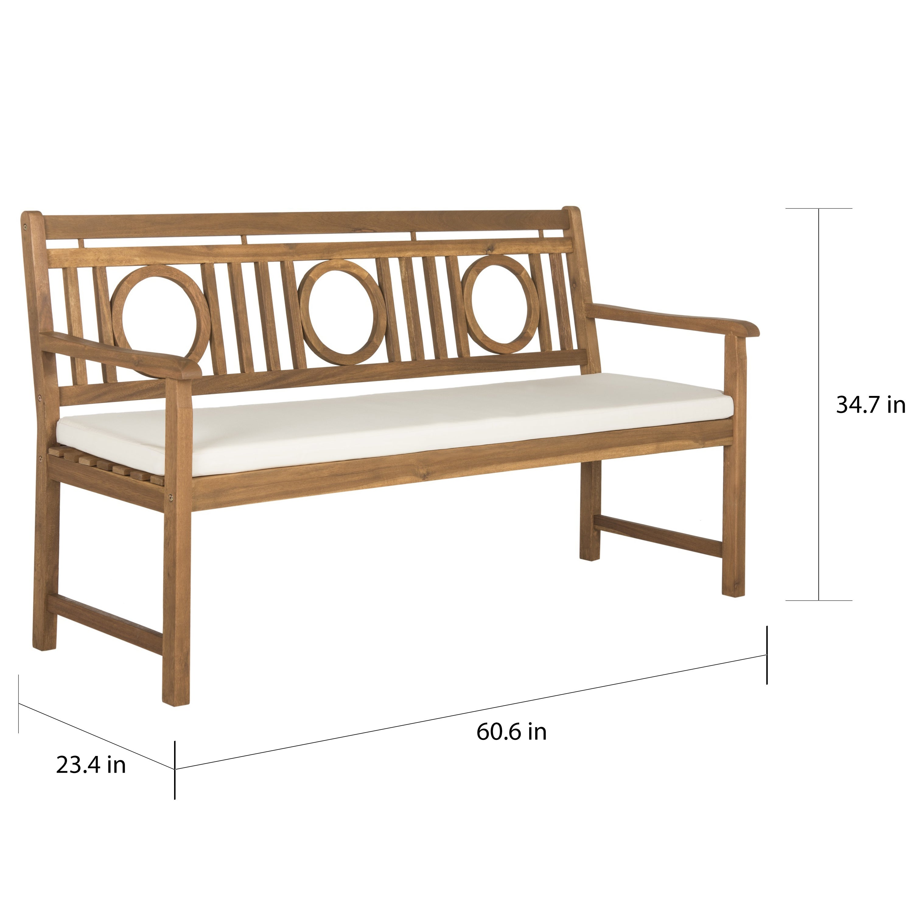 Safavieh Montclair Outdoor Brown/ Beige 3 Seat Bench   Free Shipping Today    Overstock.com   18324100