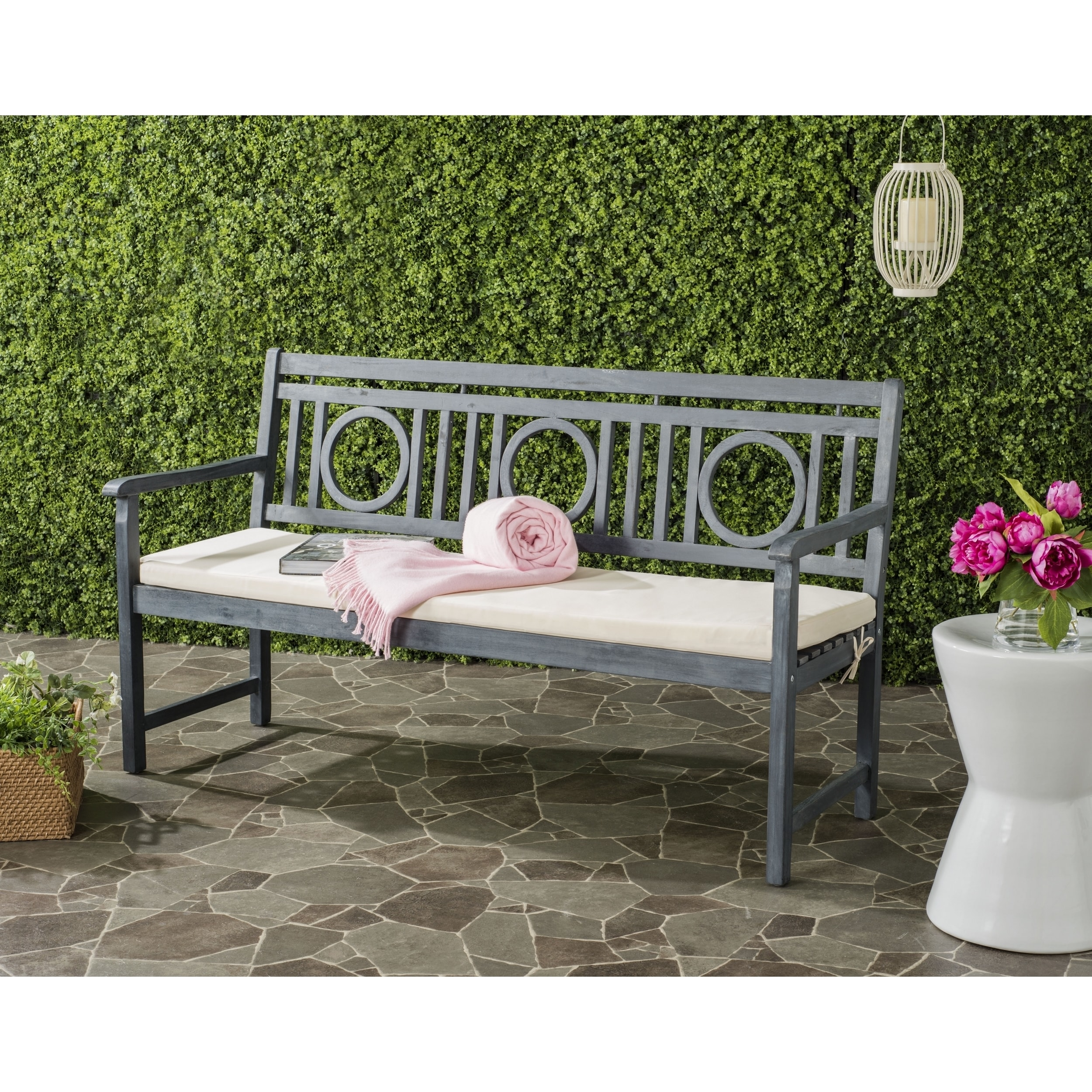 Safavieh Montclair Outdoor Ash Grey Beige 3 Seat Bench