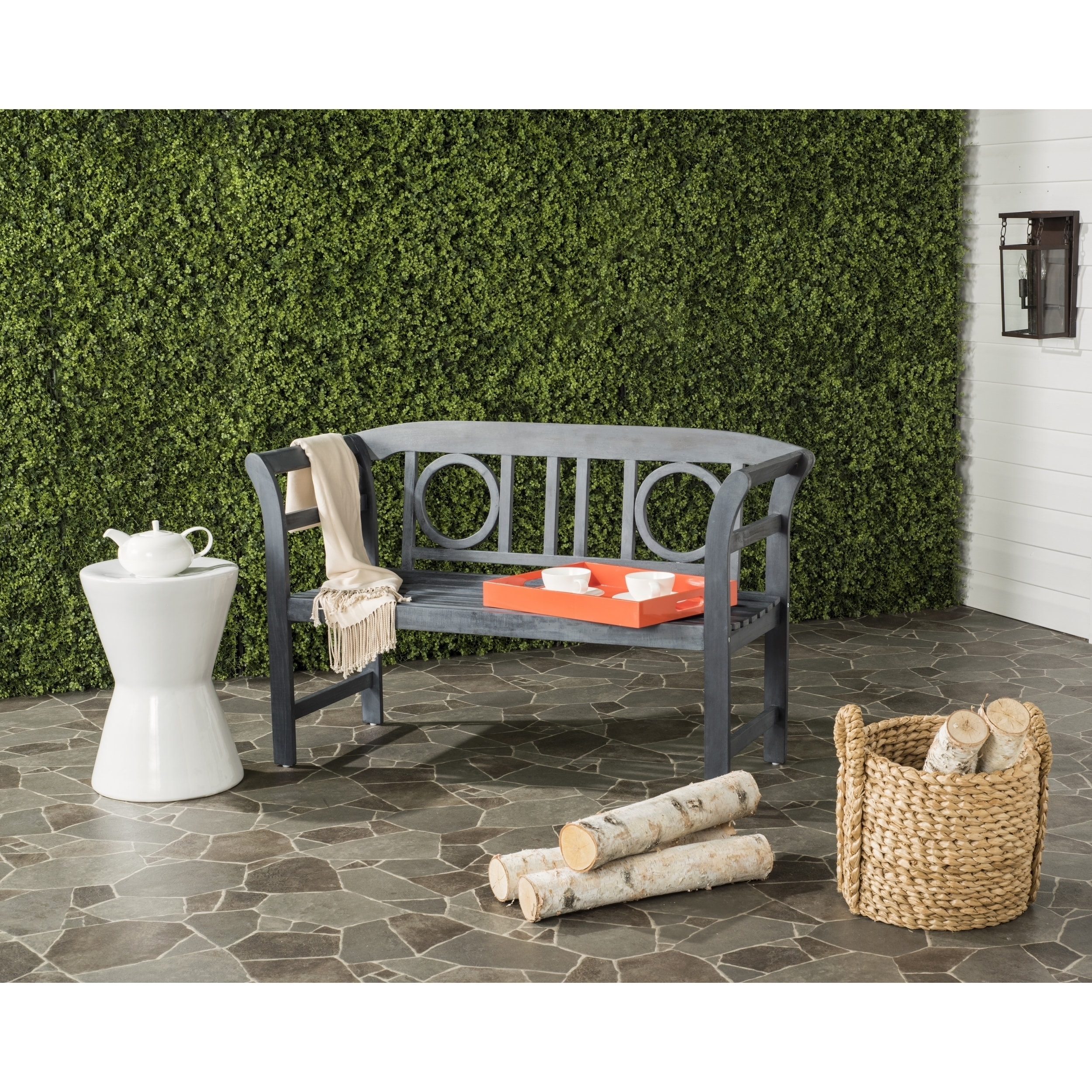 Shop Safavieh Moorpark Outdoor Ash Grey 2 Seat Bench   Free Shipping Today    Overstock.com   11351151